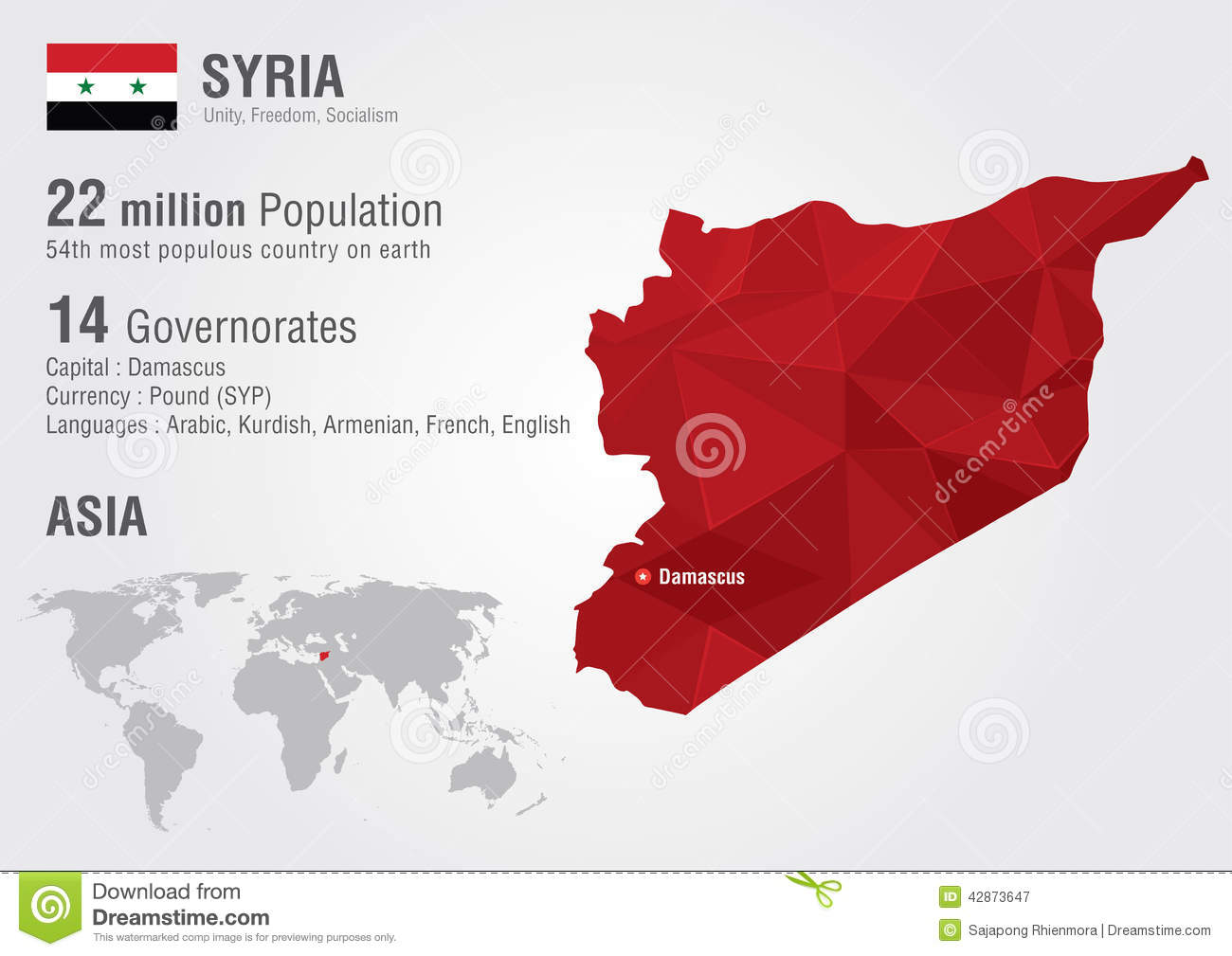 Syria World Map With A Pixel Diamond Texture. Stock Image - Image of ...