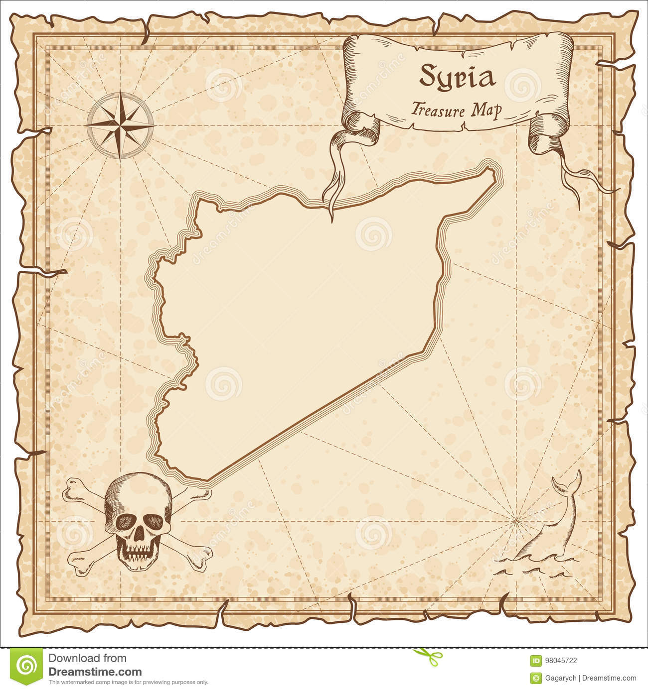 Syrian Arab Republic Old Pirate Map Sepia Engraved Template Of Treasure Stylized On Vintage Paper