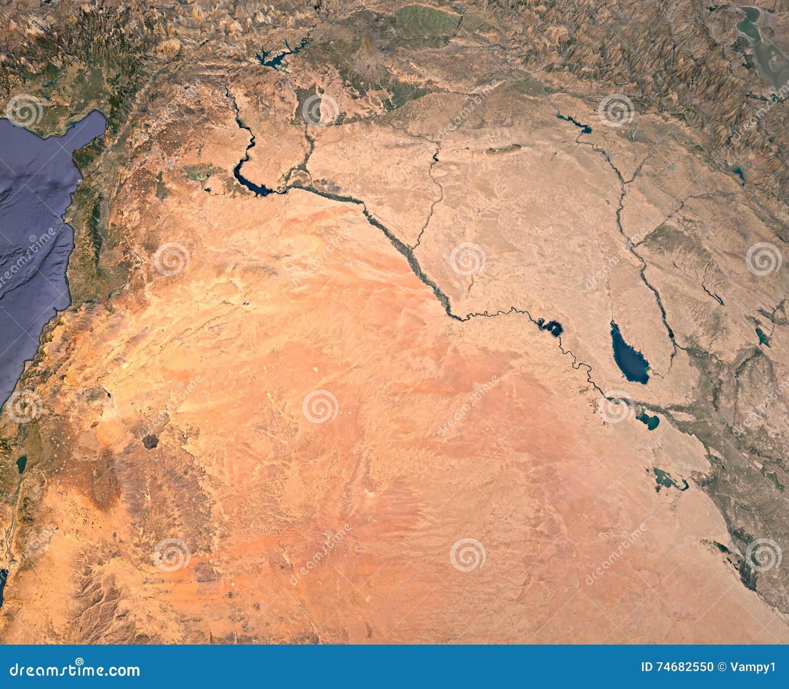 Syrien Irak Karte.Syrien Der Irak Satellitenbild Karte 3d Wiedergabe Land