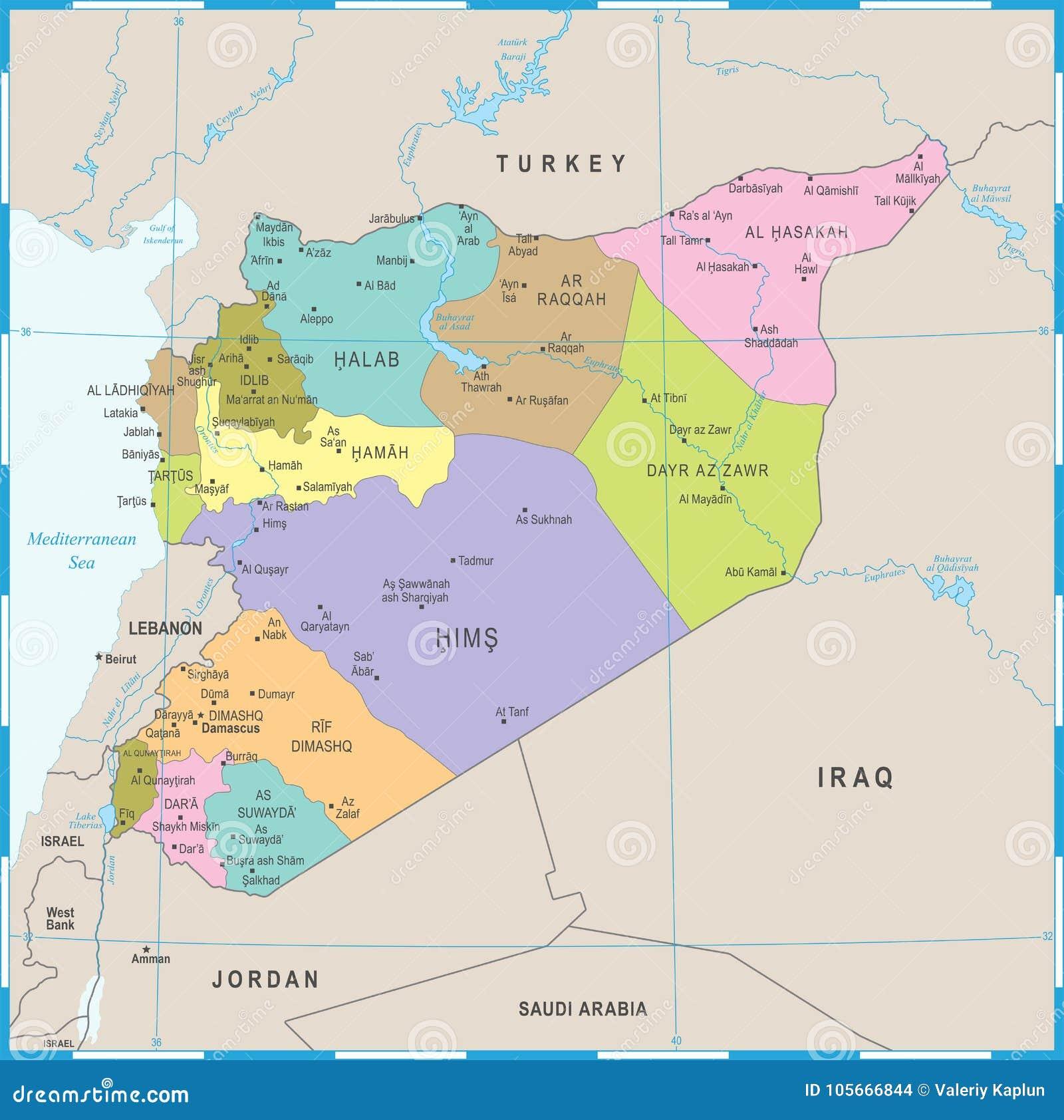 Karte Syrien.Syrien Karte Ausführliche Vektor Illustration Stock Abbildung