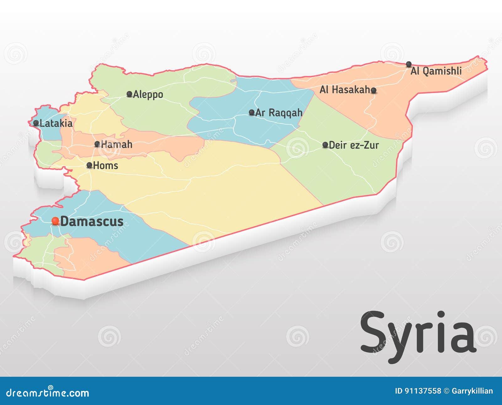 Syrien Karte Mit Städten.Syrien Karte 3d Mit Hauptstädten Und Governorates Volumetrische