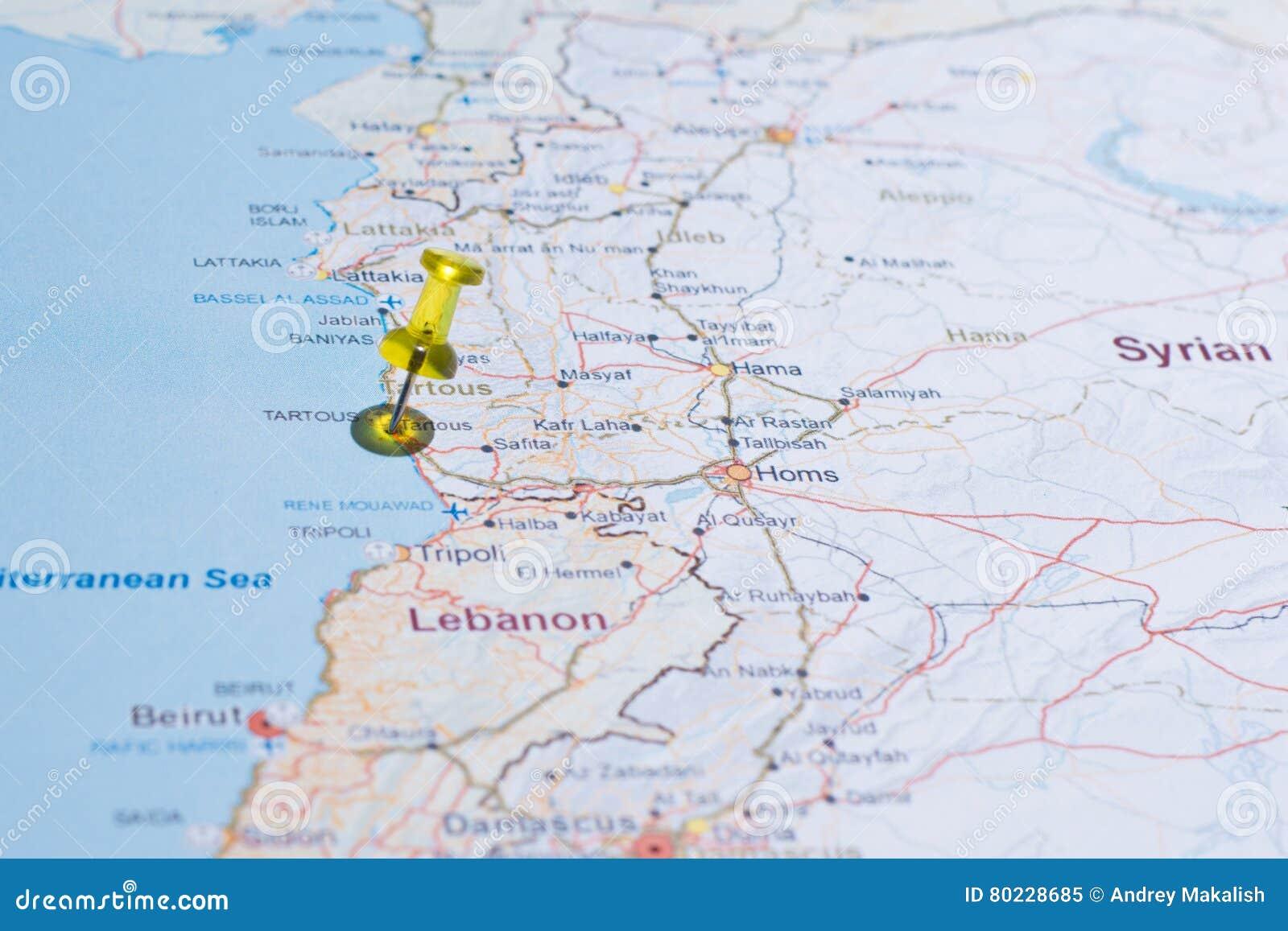 Syrien Karte 2016.Syrien Karte Mit Straßen Tsvaeta Rot Und Markiert Mit Einem Stift Im