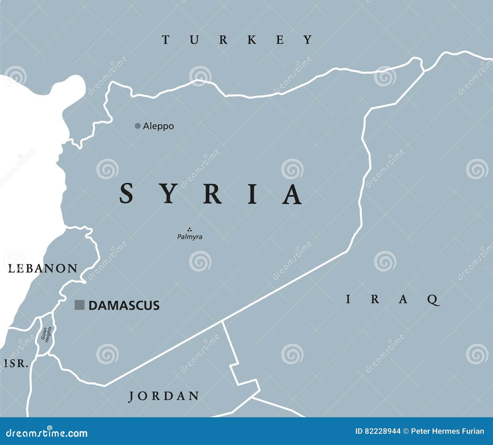 Syrii Polityczna Mapa Ilustracja Wektor Ilustracja Zlozonej Z