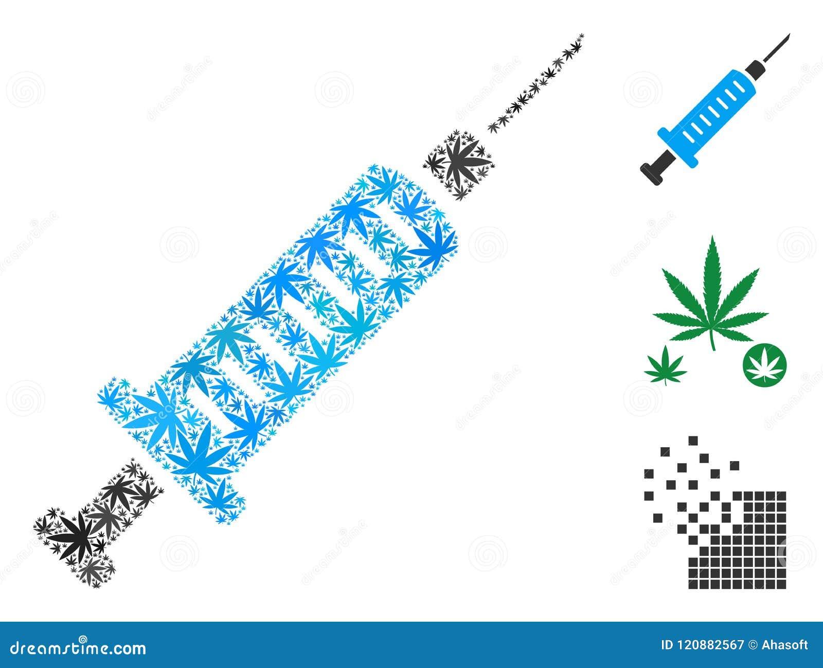 Syringe Composition Of Marijuana Stock Vector Illustration Of Icon