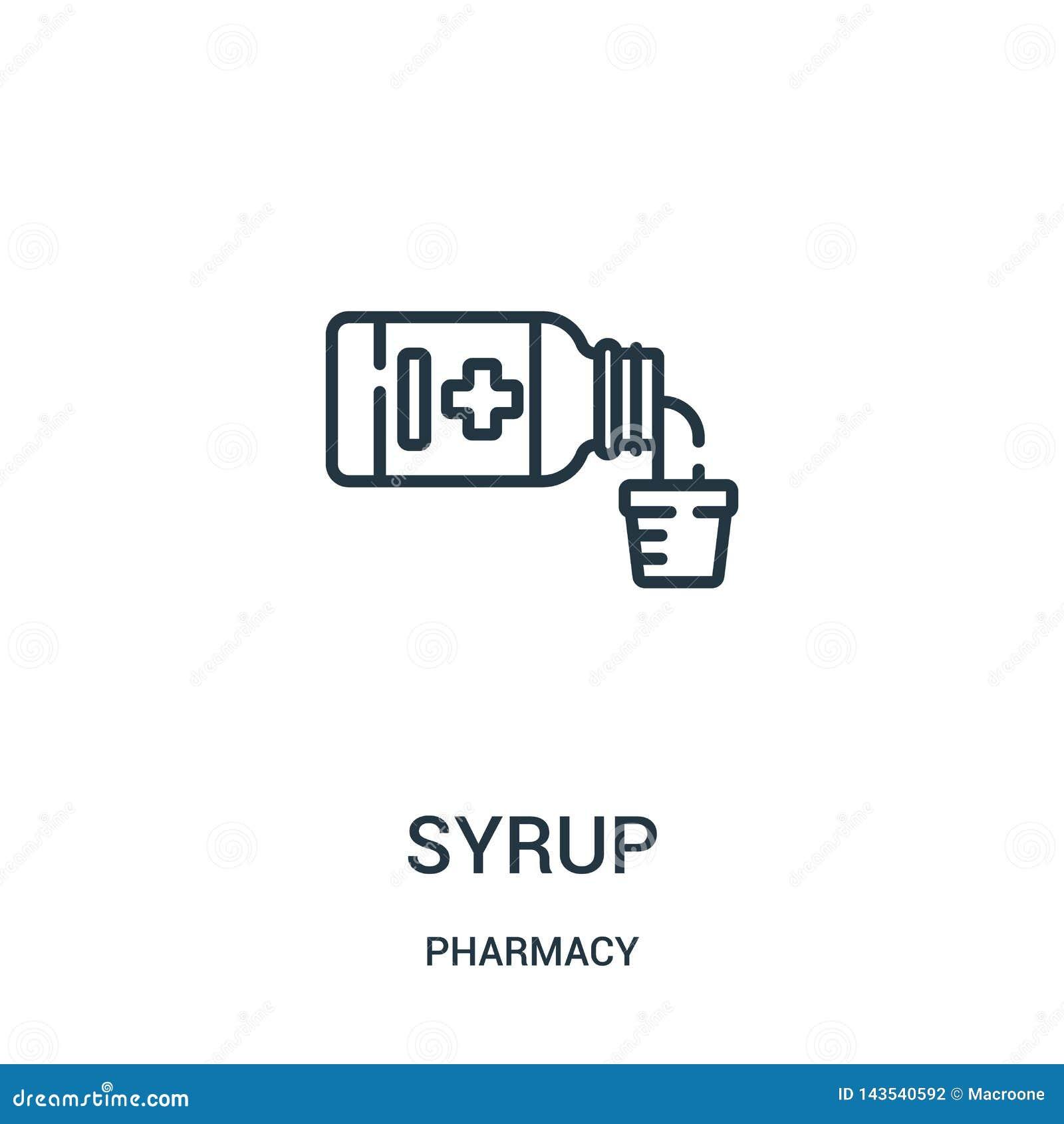 Syrop ikony wektor od apteki kolekcji Cienka kreskowa syropu konturu ikony wektoru ilustracja