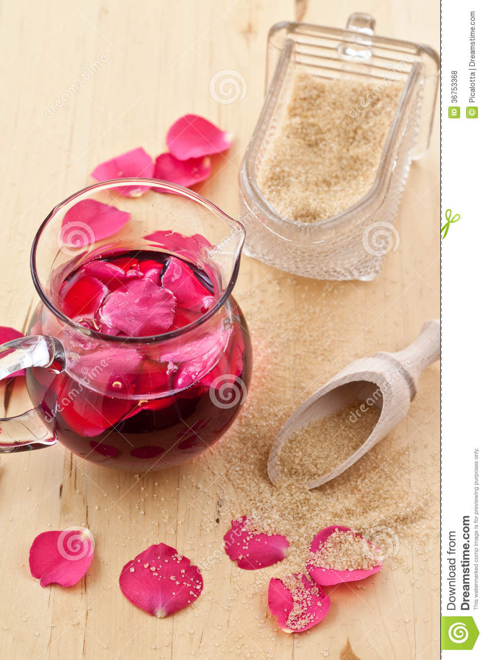 Syrup with rose petals
