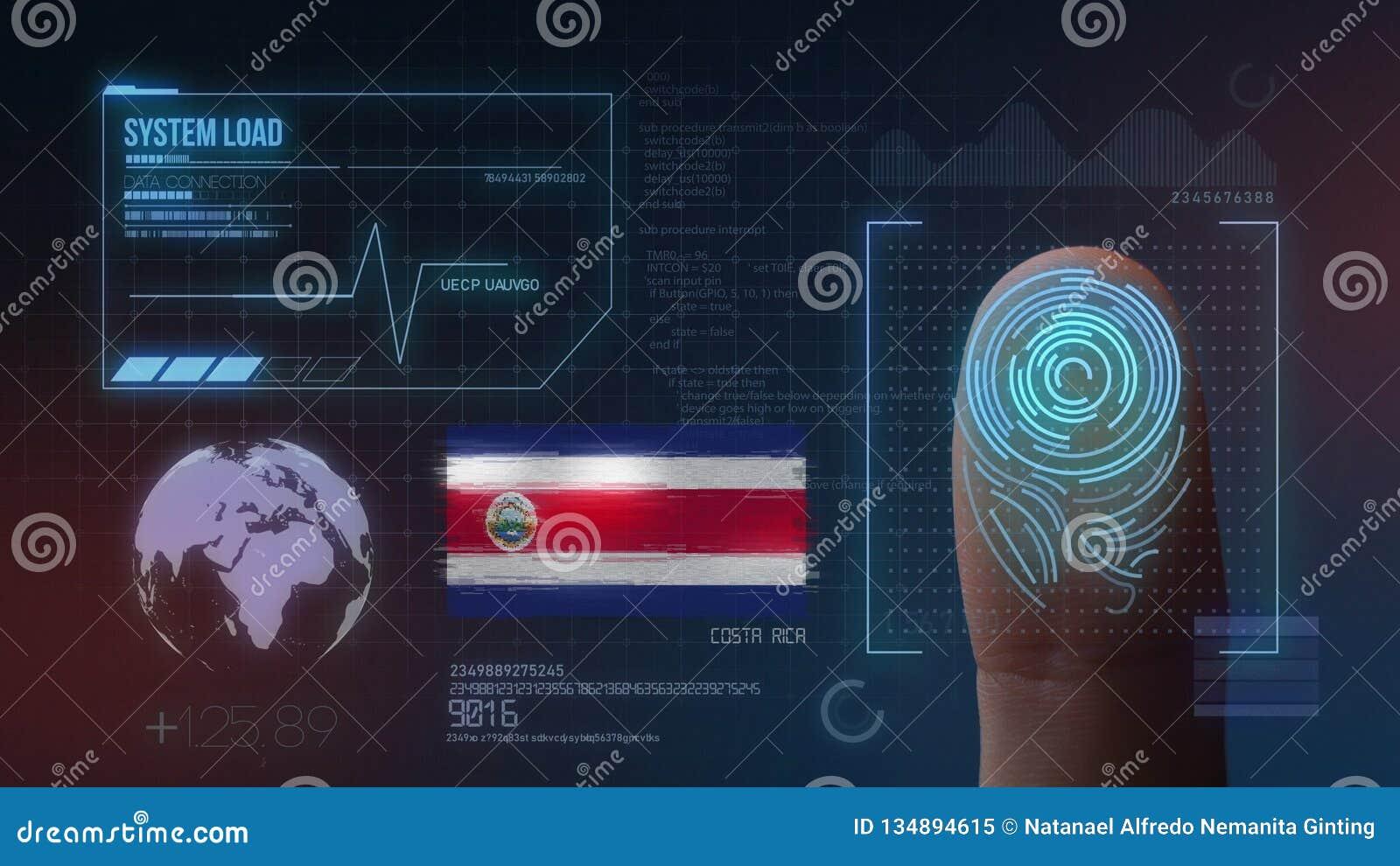 Système d identification de balayage biométrique d empreinte digitale Costa Rica Nationality