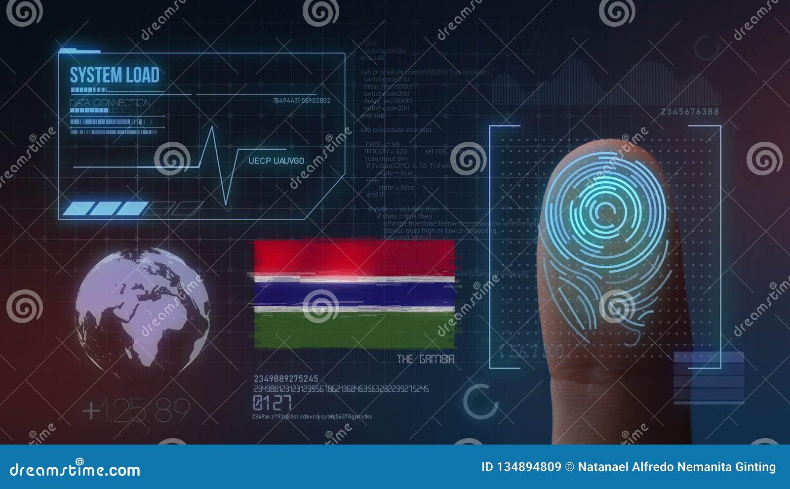 Système d identification de balayage biométrique d empreinte digitale La nationalité de la Gambie