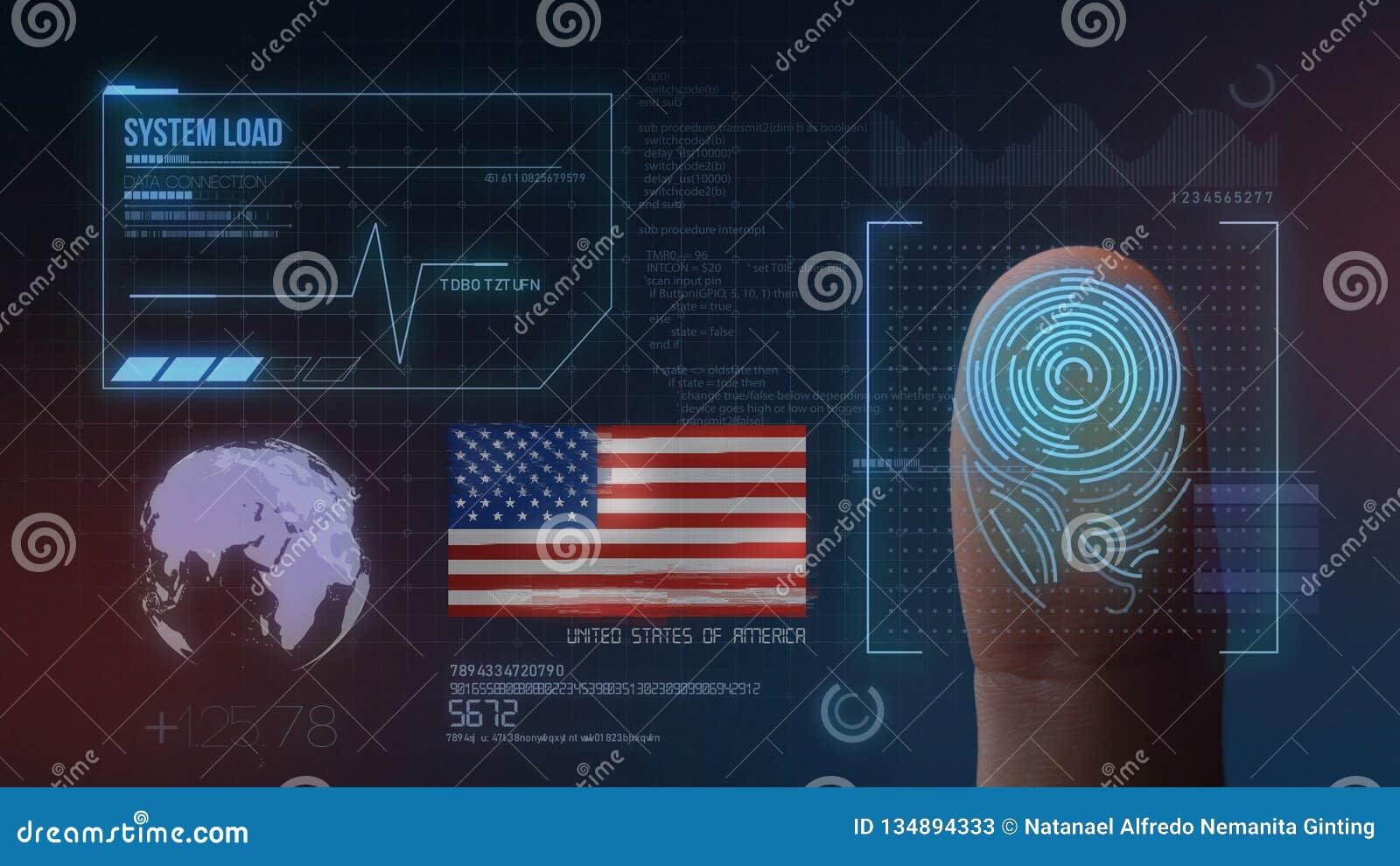Système d identification de balayage biométrique d empreinte digitale Nationalité des Etats-Unis d Amérique