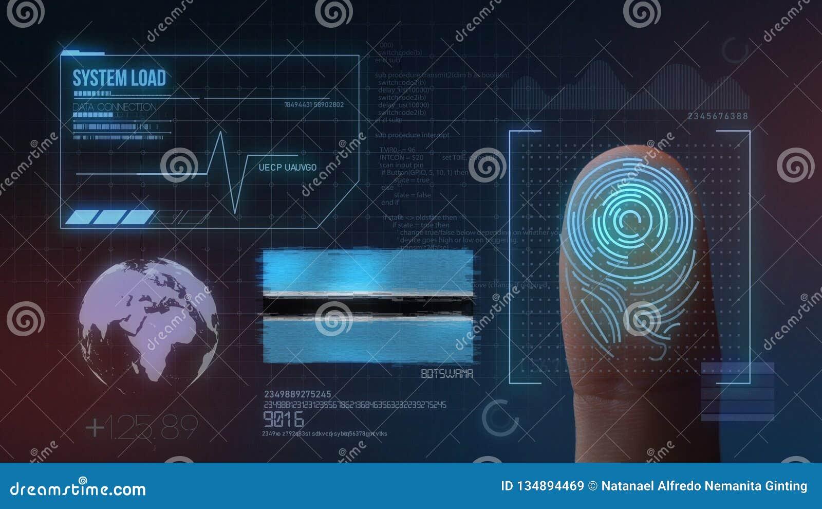 Système d identification de balayage biométrique d empreinte digitale Nationalité du Botswana