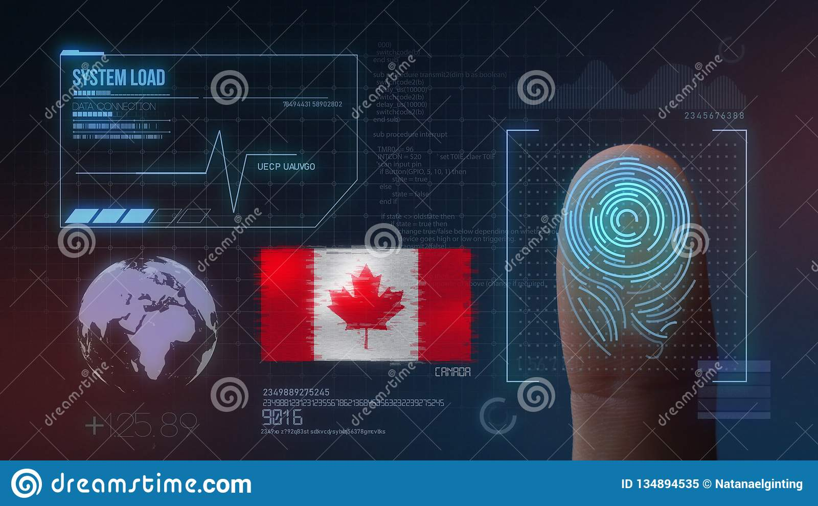 Système d identification de balayage biométrique d empreinte digitale Nationalité du Canada