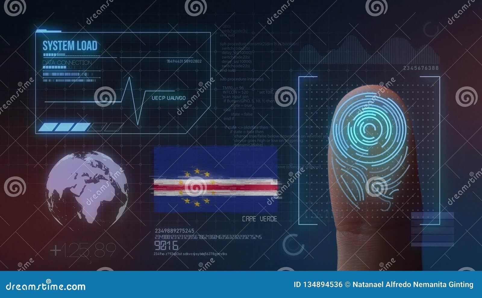 Système d identification de balayage biométrique d empreinte digitale Nationalité du Cap Vert