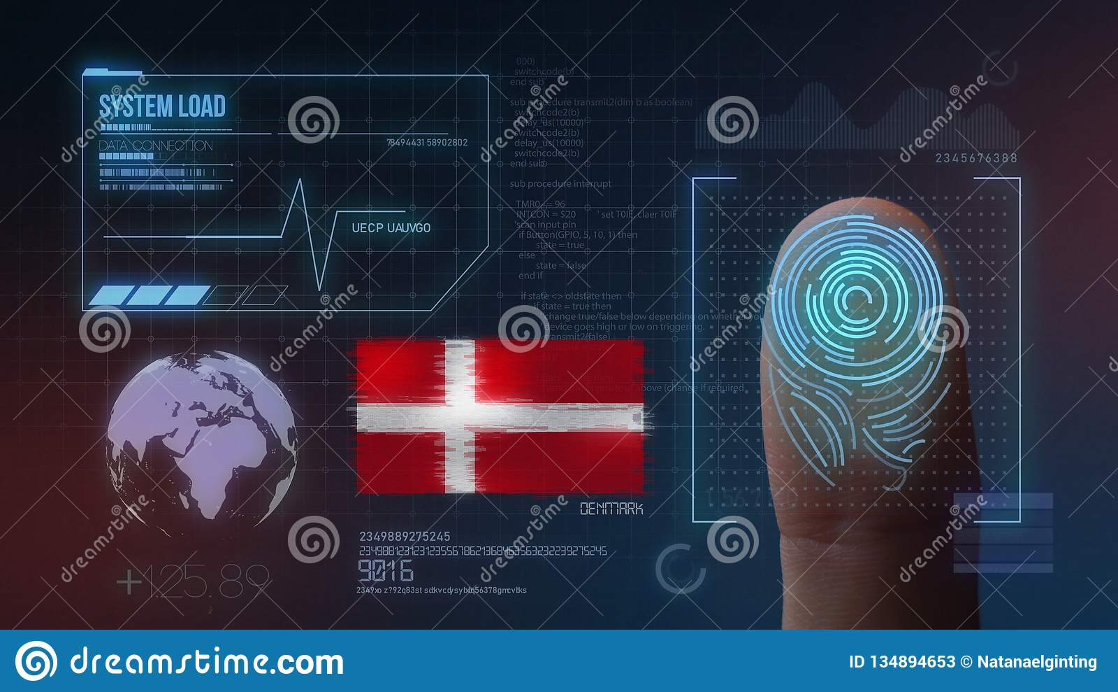 Système d identification de balayage biométrique d empreinte digitale Nationalité du Danemark