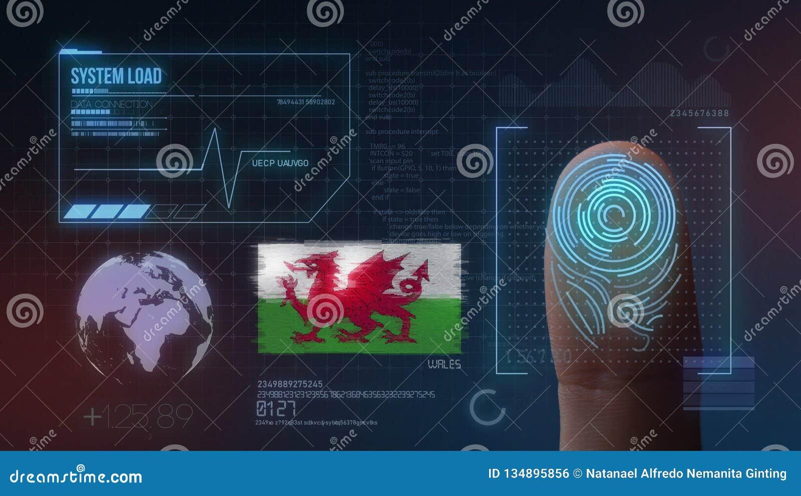 Système d identification de balayage biométrique d empreinte digitale Nationalité du Pays de Galles