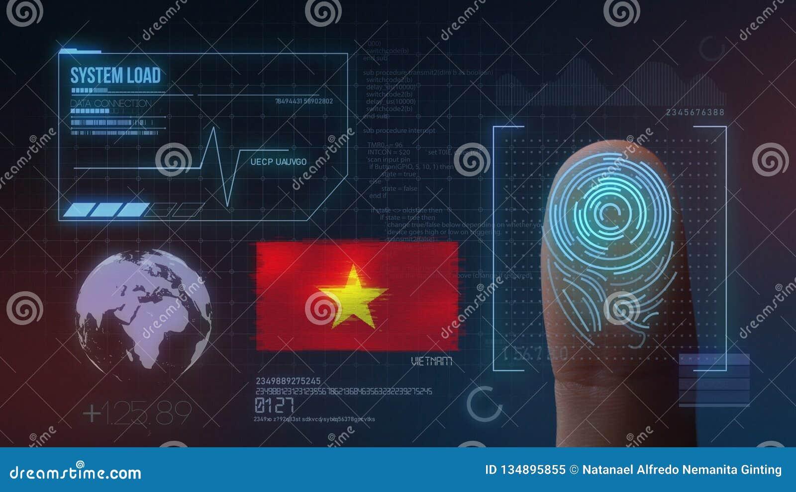 Système d identification de balayage biométrique d empreinte digitale Nationalité du Vietnam