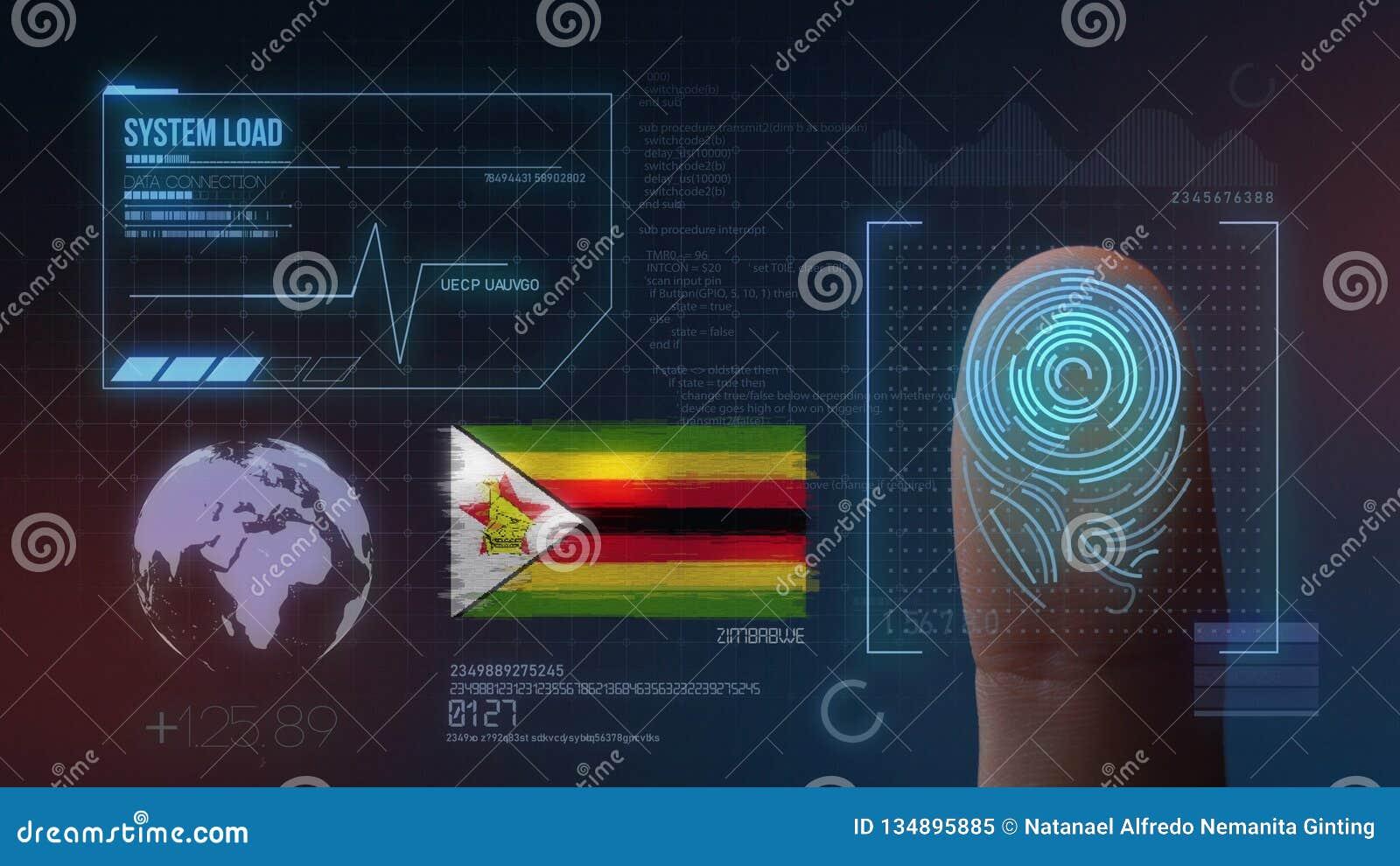 Système d identification de balayage biométrique d empreinte digitale Nationalité du Zimbabwe