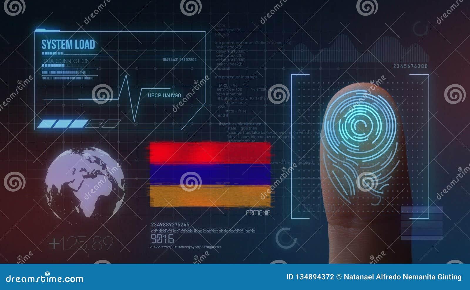 Système d identification de balayage biométrique d empreinte digitale Nationalité de l Arménie
