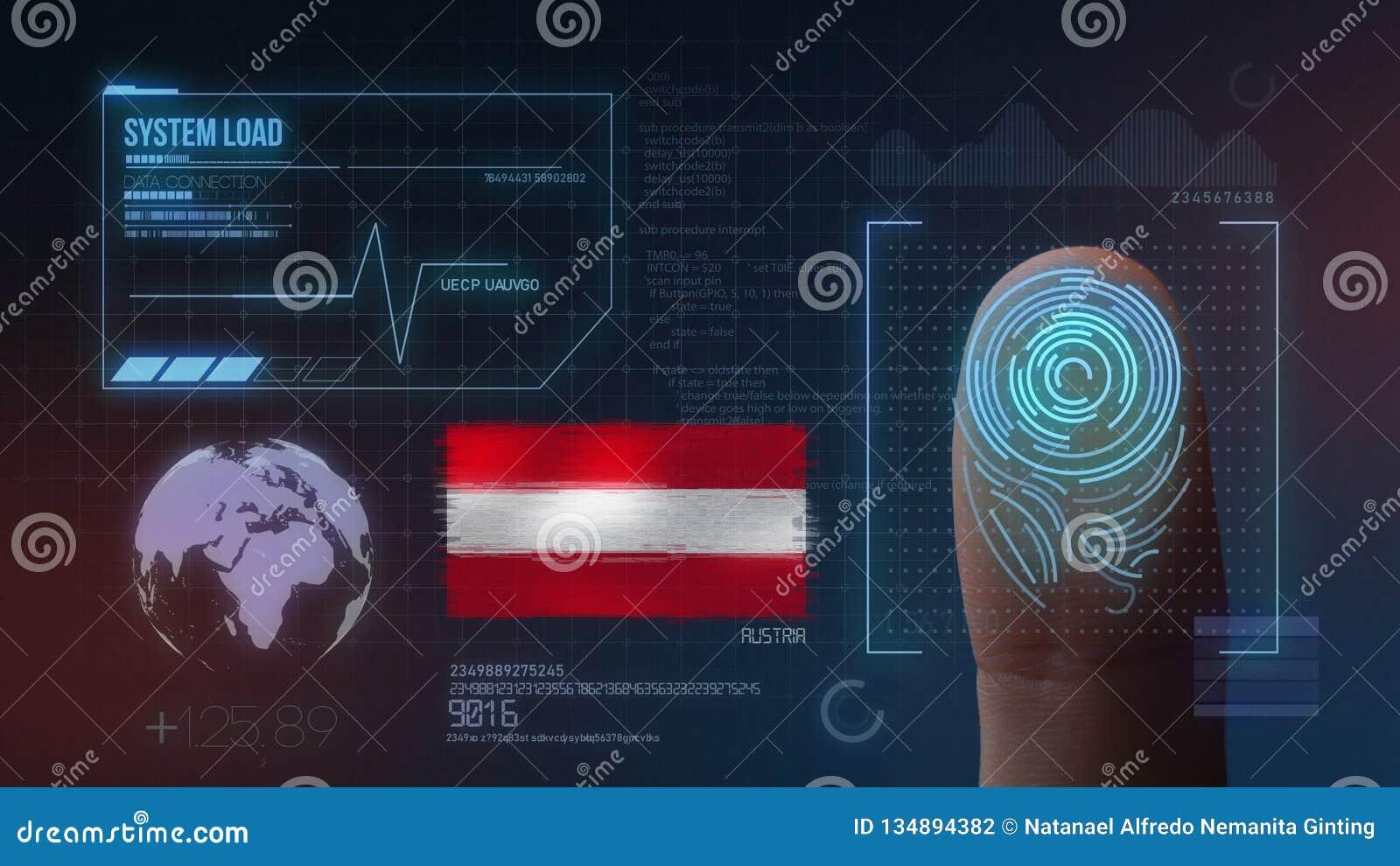 Système d identification de balayage biométrique d empreinte digitale Nationalité de l Autriche