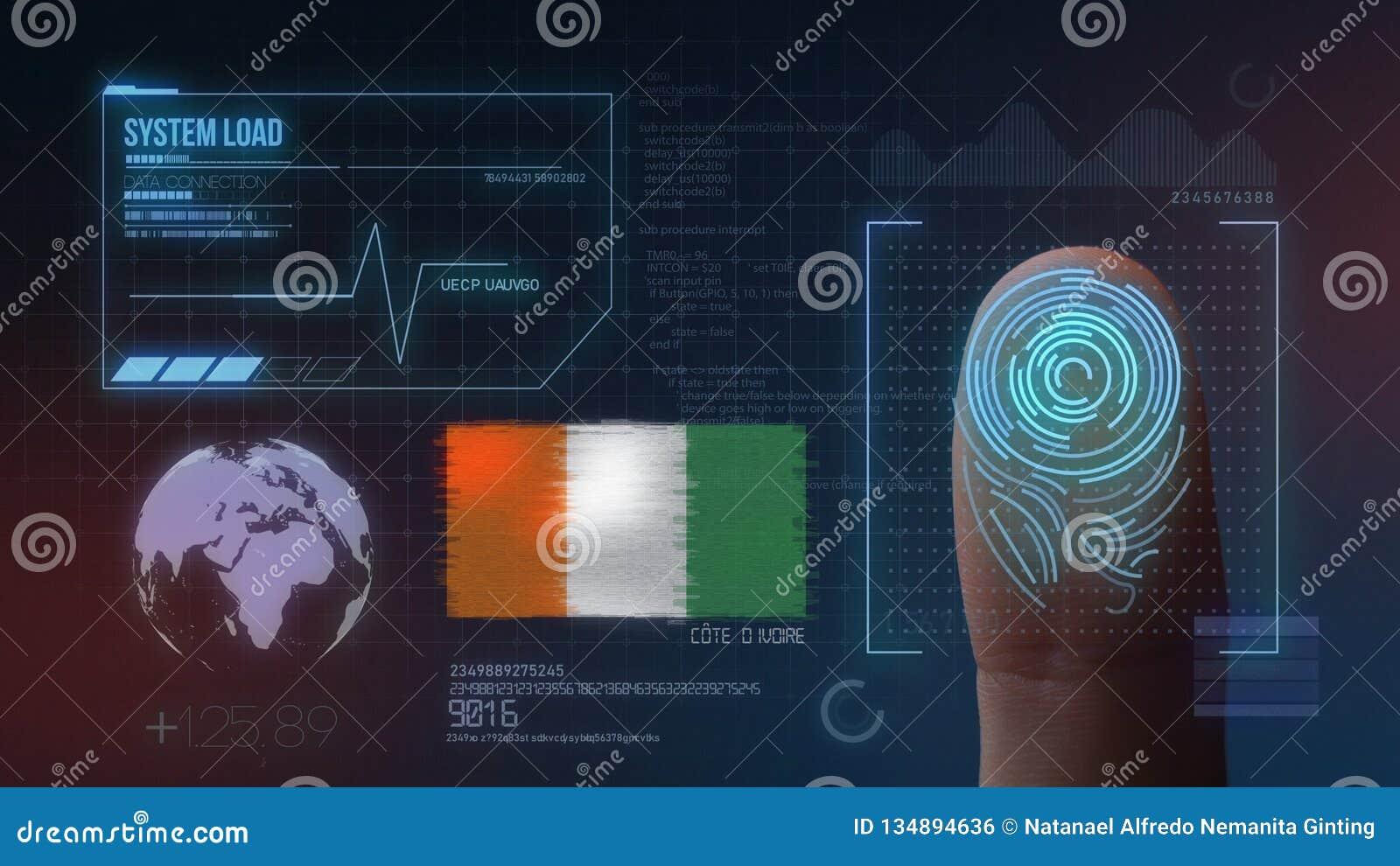 Système d identification de balayage biométrique d empreinte digitale Nationalité de la Côte d Ivoire