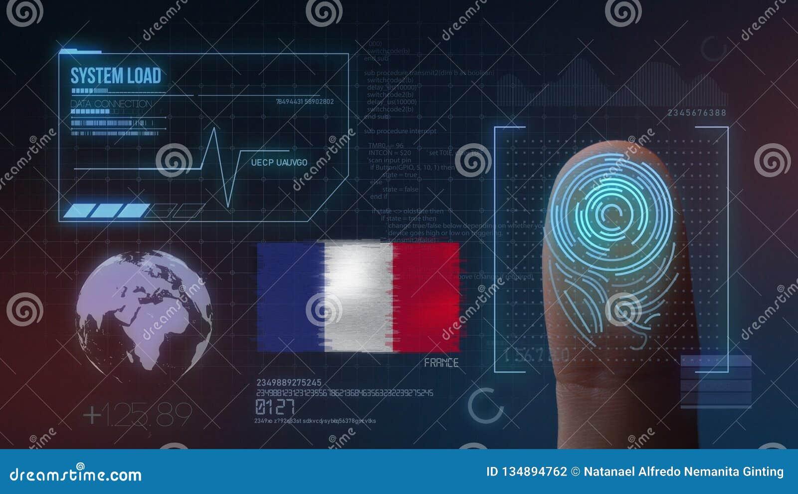 Système d identification de balayage biométrique d empreinte digitale Nationalité de la France