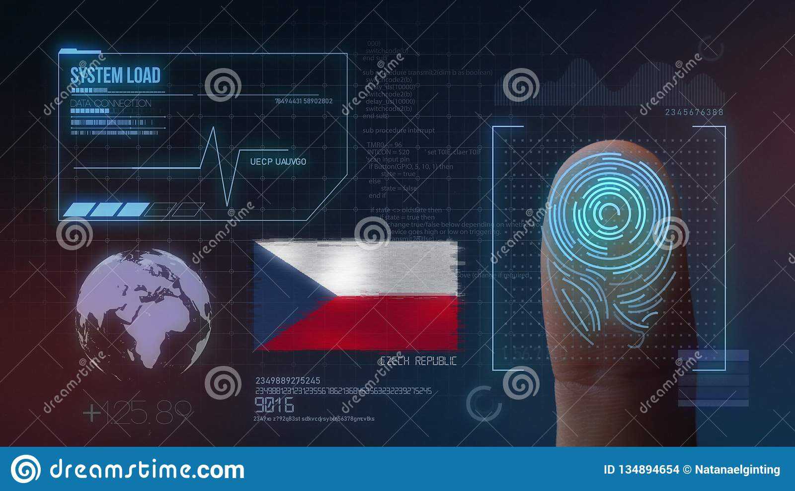 Système d identification de balayage biométrique d empreinte digitale Nationalité de République Tchèque