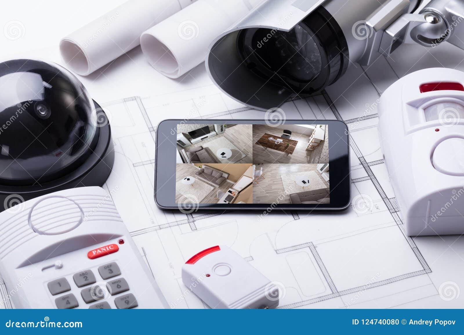 Système domestique intelligent sur le portable avec l équipement de sécurité