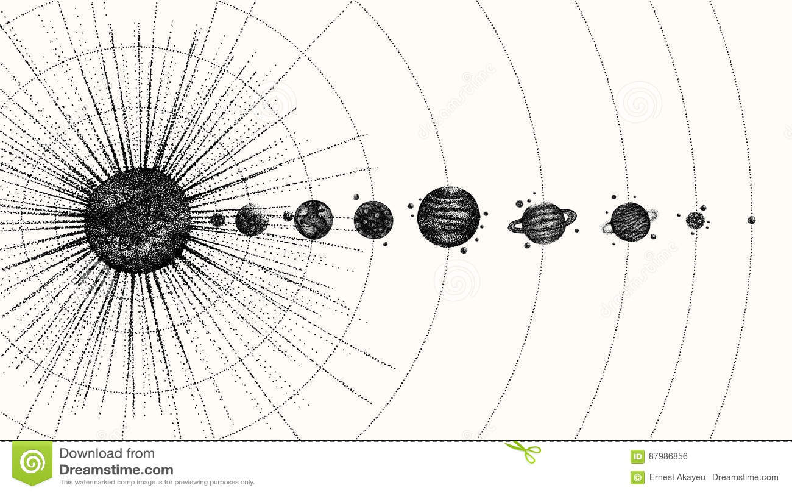 Système solaire dans le style de dotwork planètes en orbite Illustration tirée par la main de vintage
