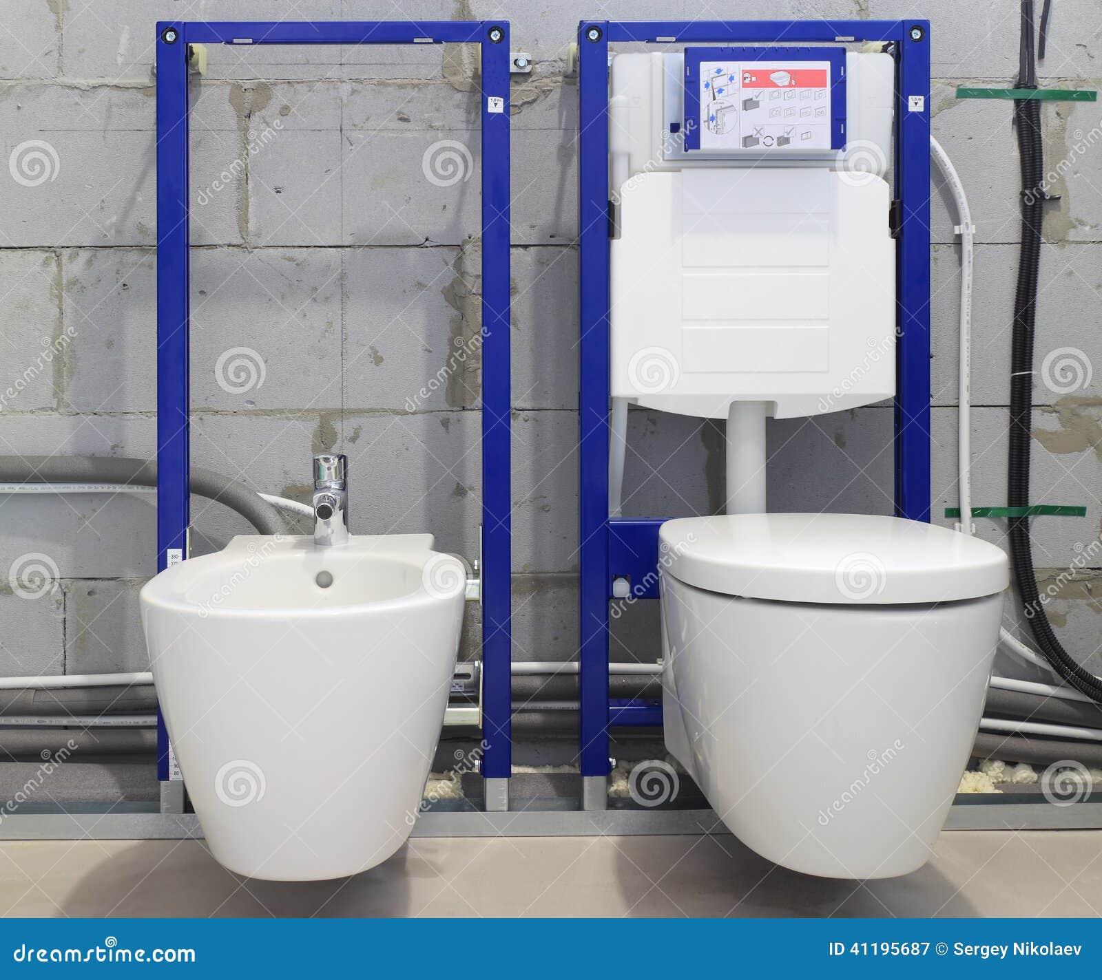 Systemes D Installation Pour Des Toilettes Et Des Bidets Image Stock