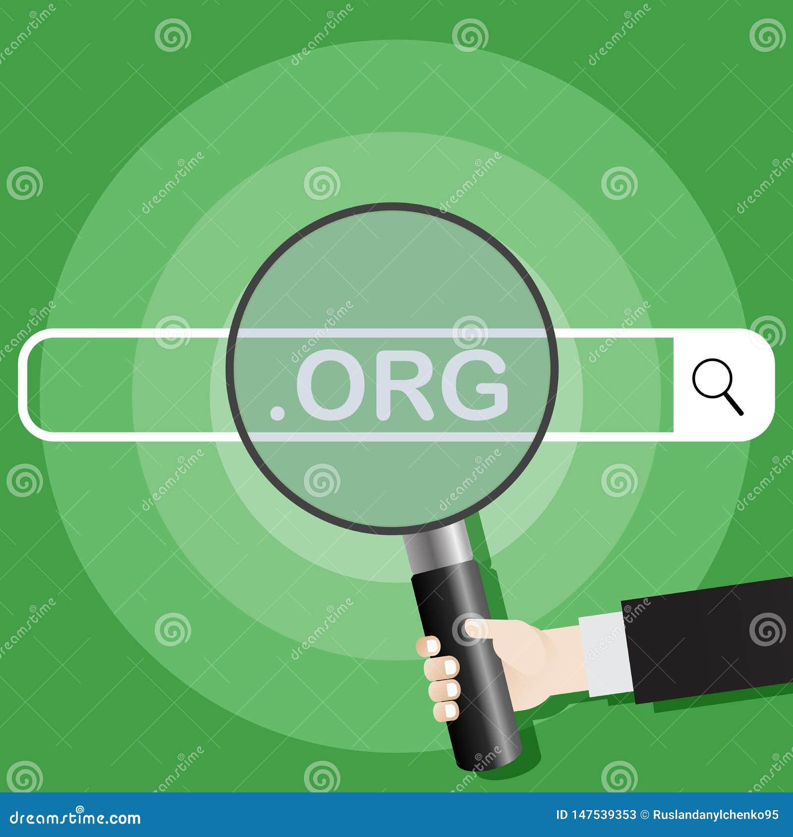 Syst?me de recherche Image d une main tenant une loupe sur l org de moteur de recherche Illustration de vecteur