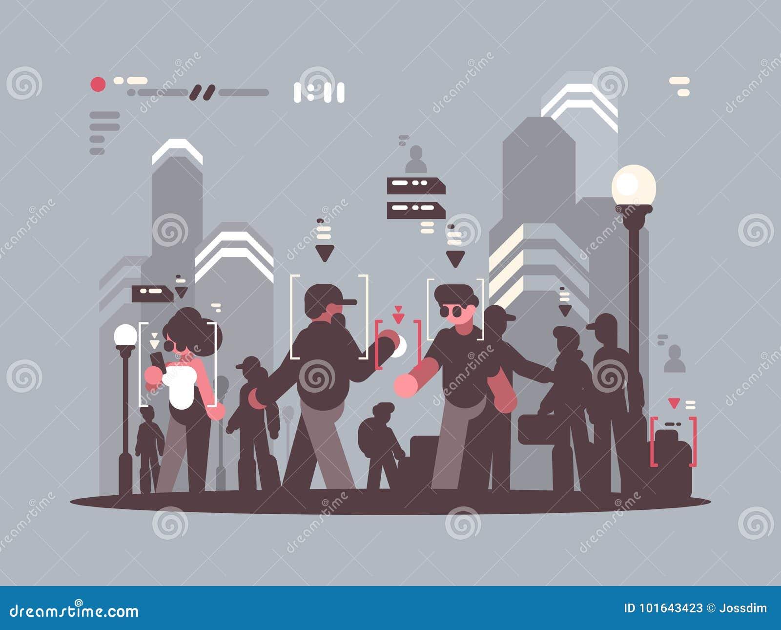 Systeem volgende mensen in menigte