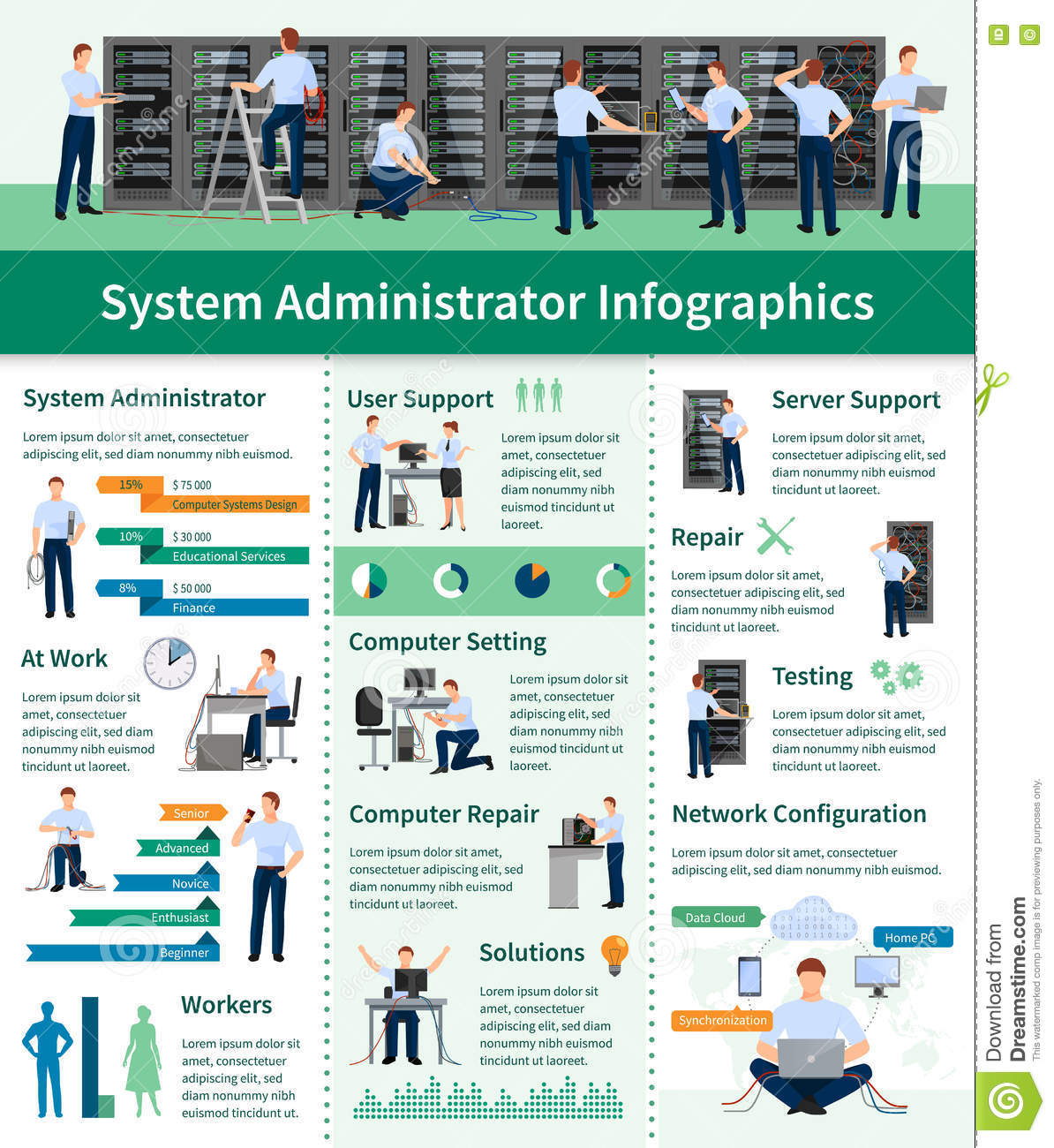 System Administrator Infographics Stock Vector Image