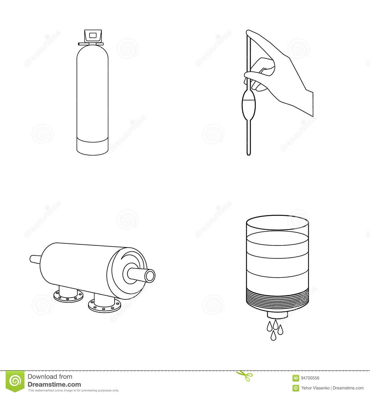 System Balloon Hand Trial Water Filtration Set Collection Diagram Icons In Outline