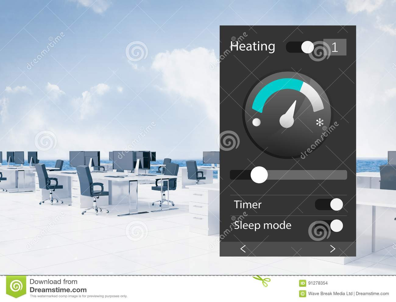 System för kontorsautomation som värmer App-manöverenheten