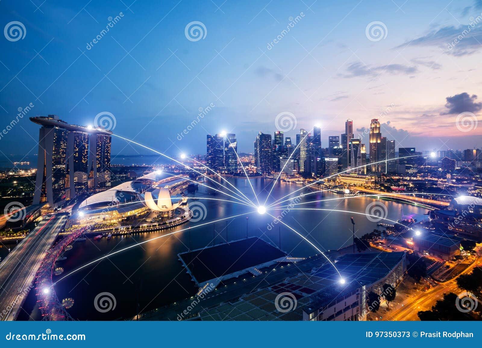 System för nätverksaffärsconection på Singapore smart stadsscape
