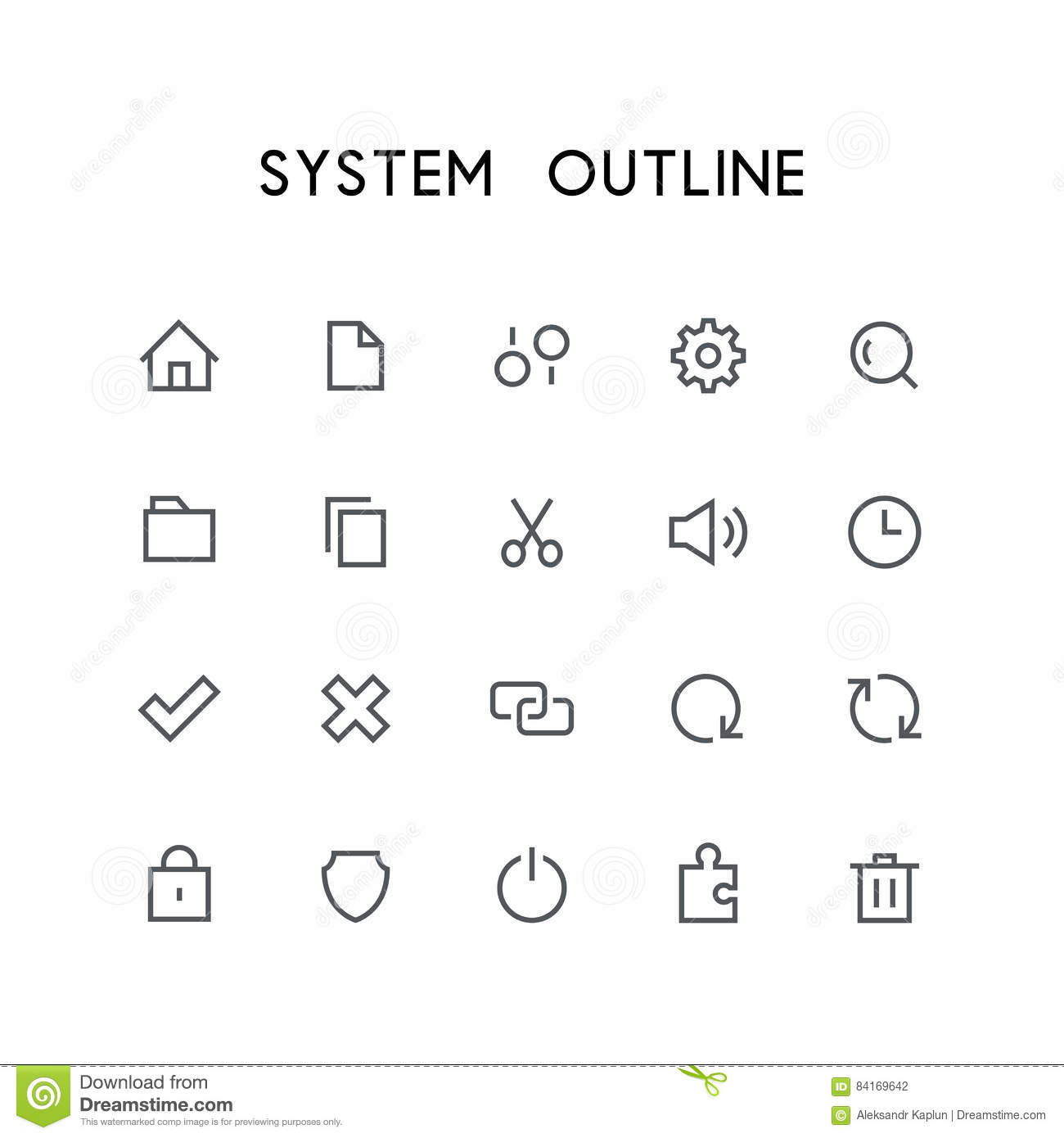 System Outline Icon Set Stock Vector Illustration Of Puzzle 84169642