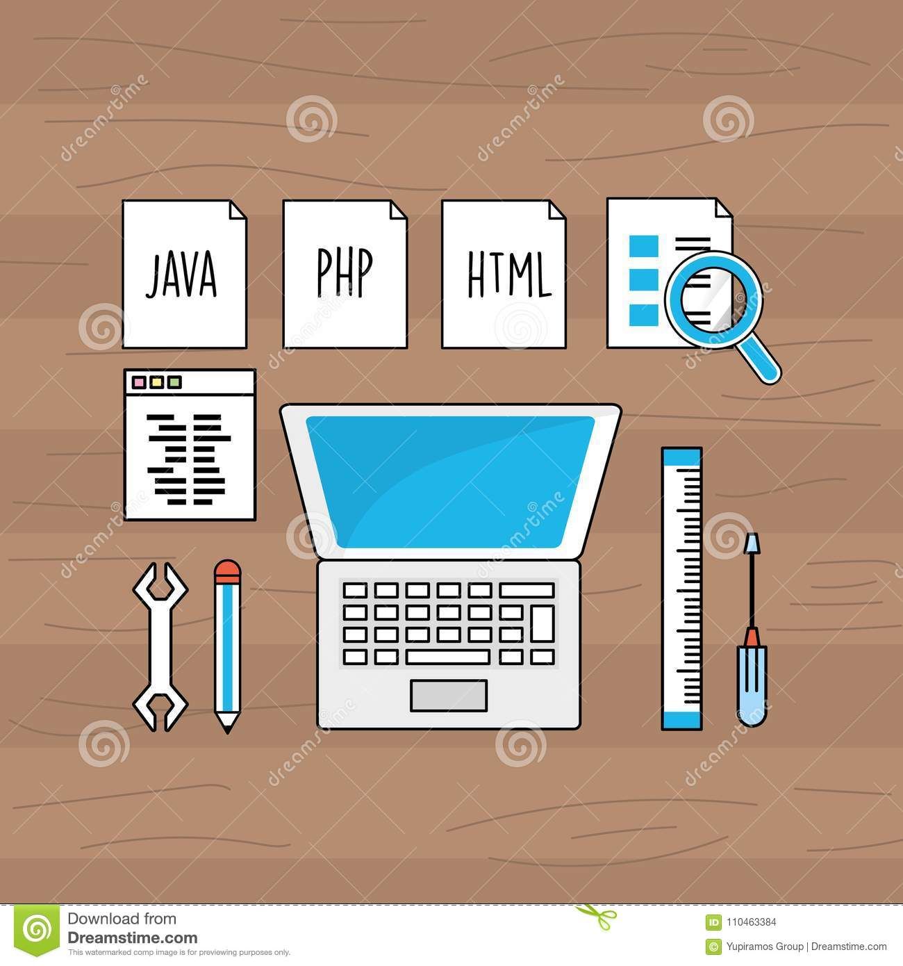 System Programming Technology With Website Code Stock Vector