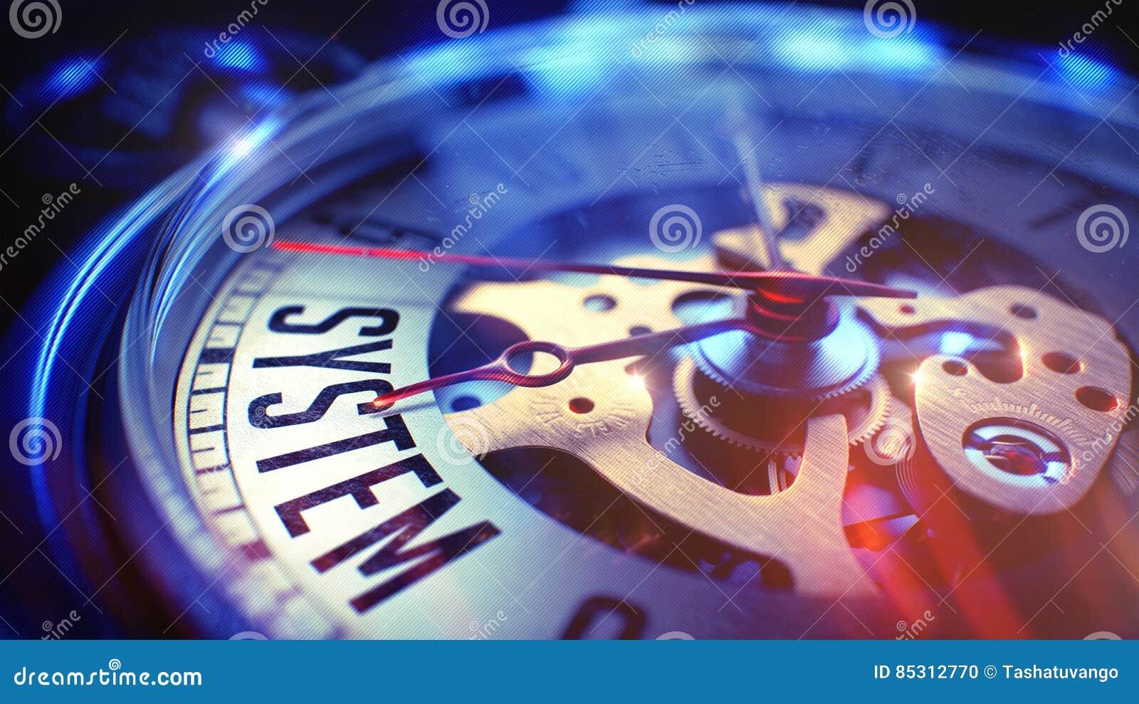 System - sformułowanie na Kieszeniowym zegarku ilustracja 3 d