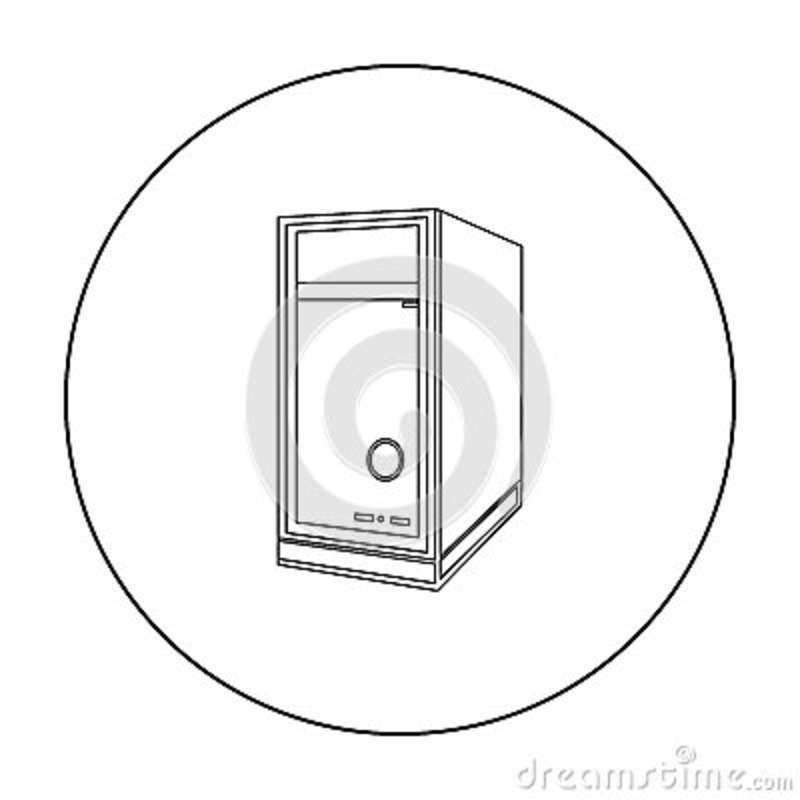 computer system unit icon  outline style cartoon vector