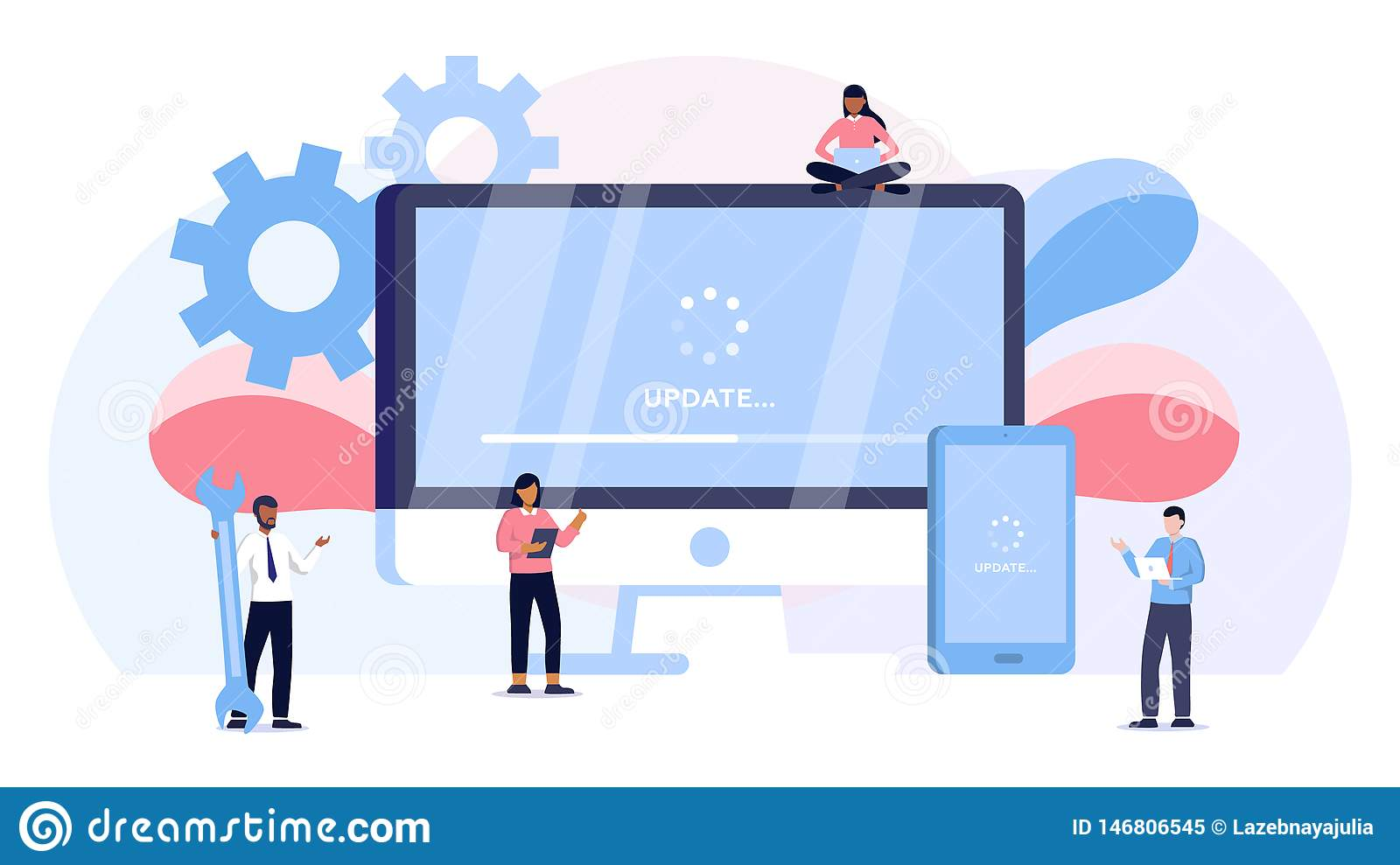 System update vector illustration concept, people update operation system can use for, landing page, template, ui, web, mobile app