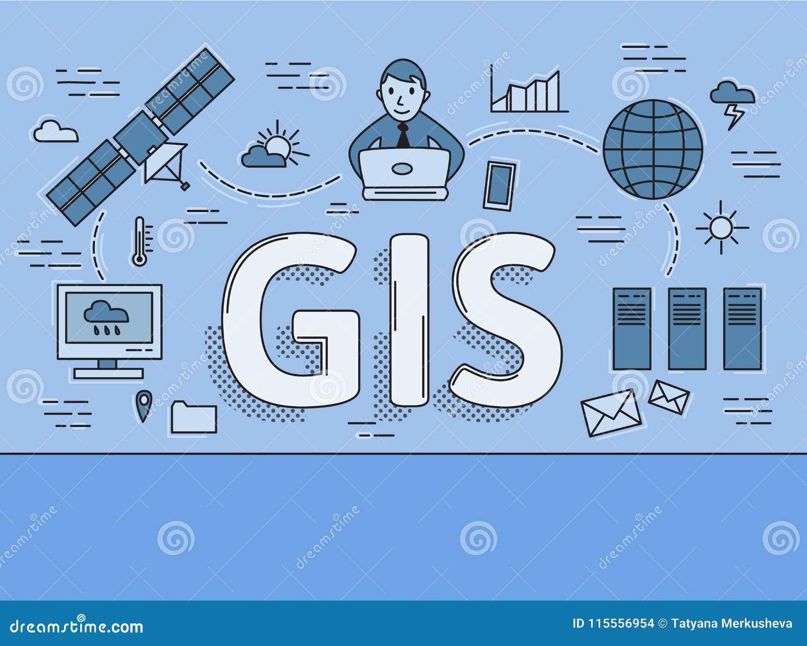 Systemet för geografisk information, GIS sänker linjen begrepp Vektorillustration på blå bakgrund horisontal