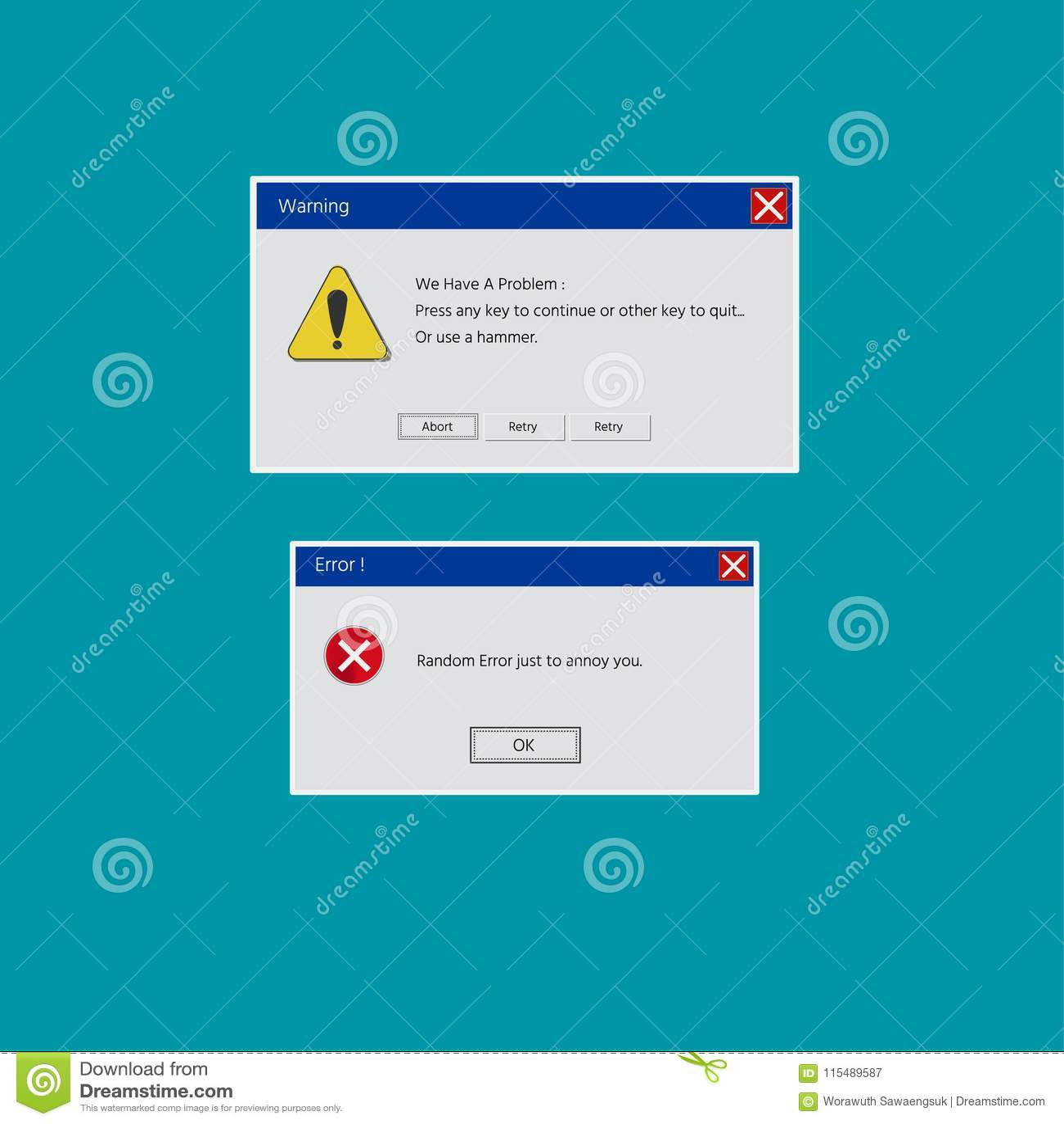 Systemu operacyjnego błędu ostrzeżenie Ilustracja na zieleni odosobnionym tle