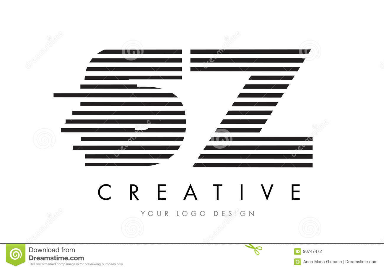 Sz S Z Zebra Letter Logo Design With Black And White Stripes Stock