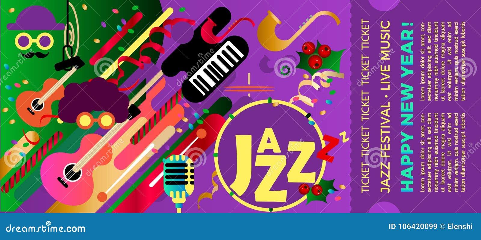 Szablon dla bileta festiwal jazzowy z instrumentami muzycznymi Kolorowy festiwal jazzowa muzyka Boże Narodzenia i nowego roku mus
