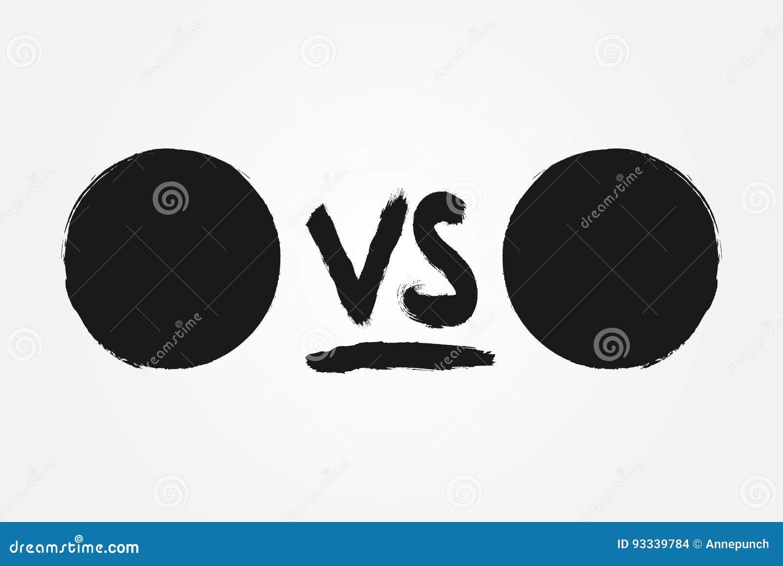 Szablon dla versus Round handwriting VS i tła Rysujący z szorstkim muśnięciem