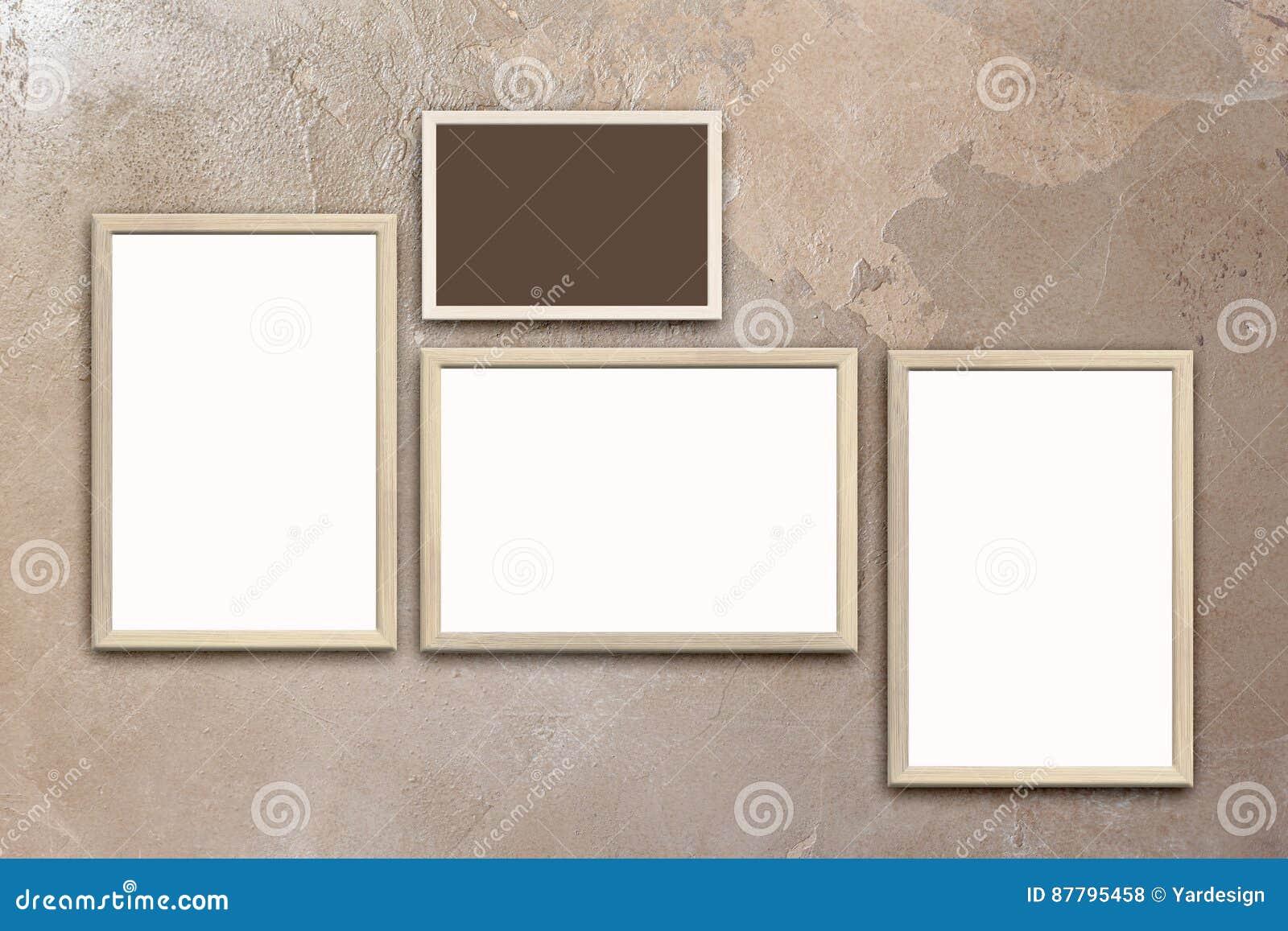 Szablon Puści Plakaty W Drewnianych Ramach Na Texturized