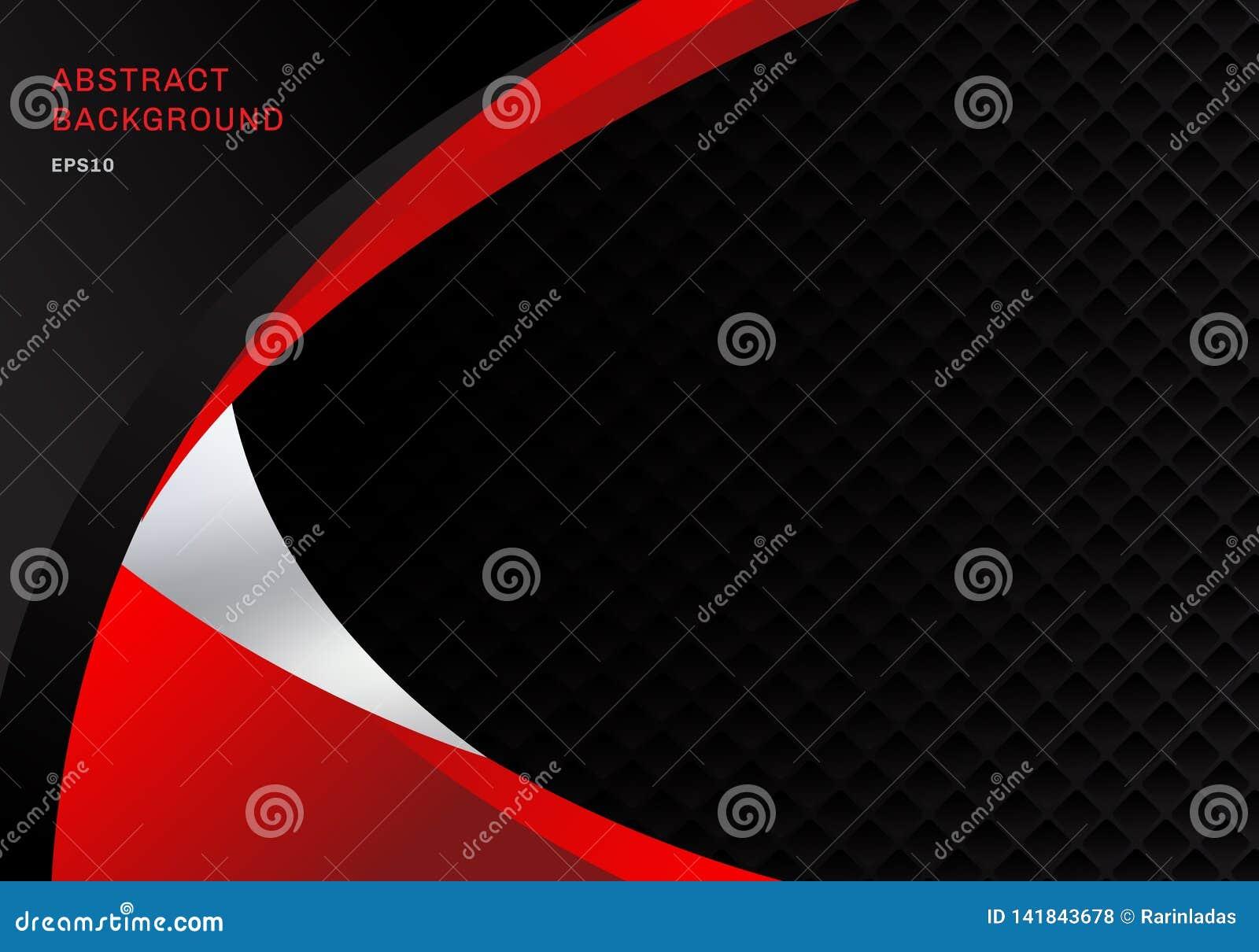 Szablonu czerni i czerwieni kontrasta korporacyjnego biznesu krzyw abstrakcjonistyczny tło z kwadratami deseniuje tekstury i kopi