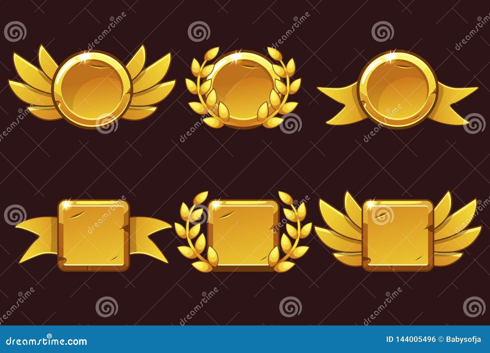 Szablonu Odbiorczy gemowy osiągnięcie Wektorowa ilustracja z Złotymi starymi nagrodami Dla gry, interfejs u?ytkownika, sztandar