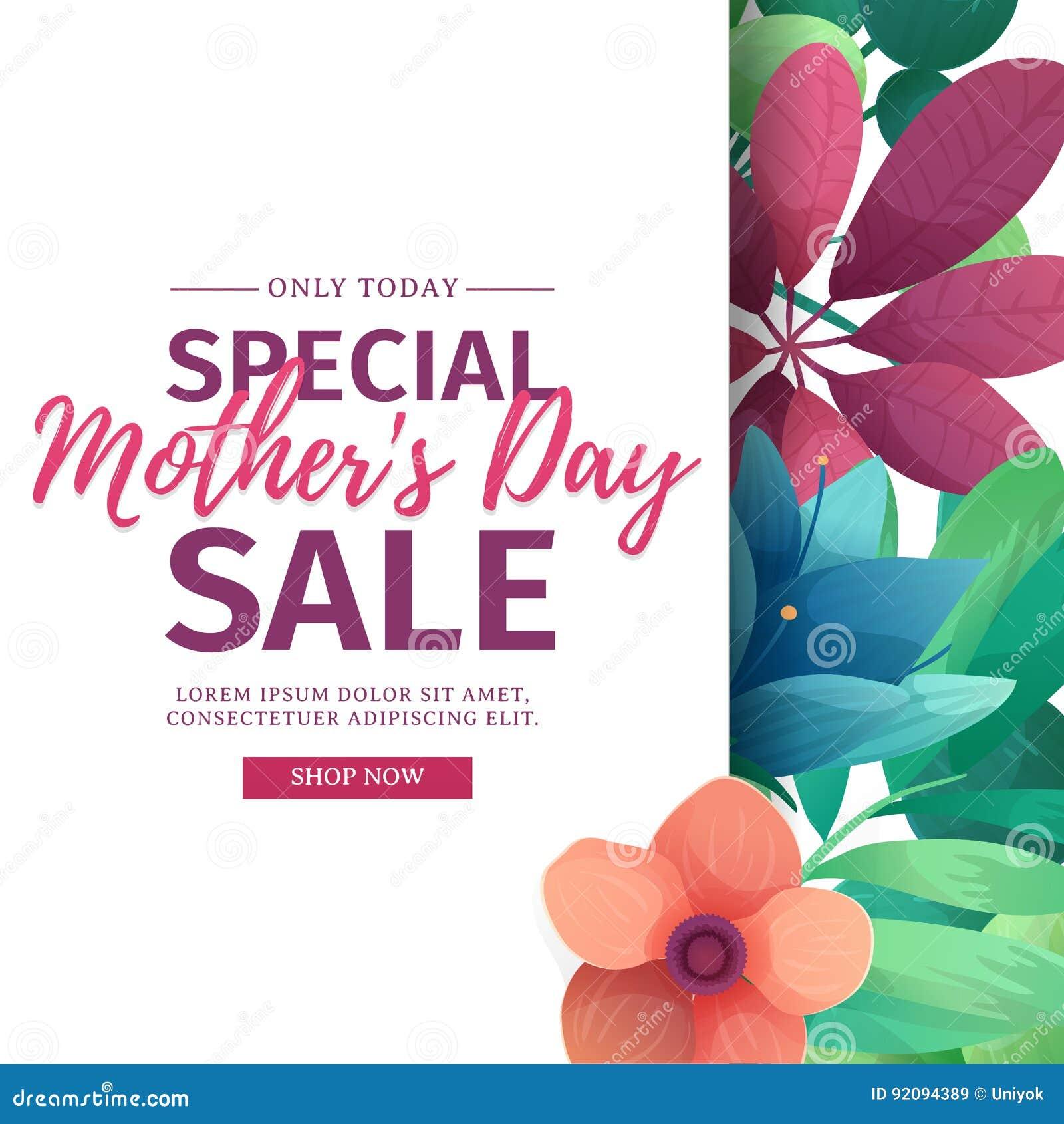 Szablonu projekta rabata sztandar dla szczęśliwego macierzystego ` s dnia Kwadratowy plakat dla dodatek specjalny matki ` s dnia