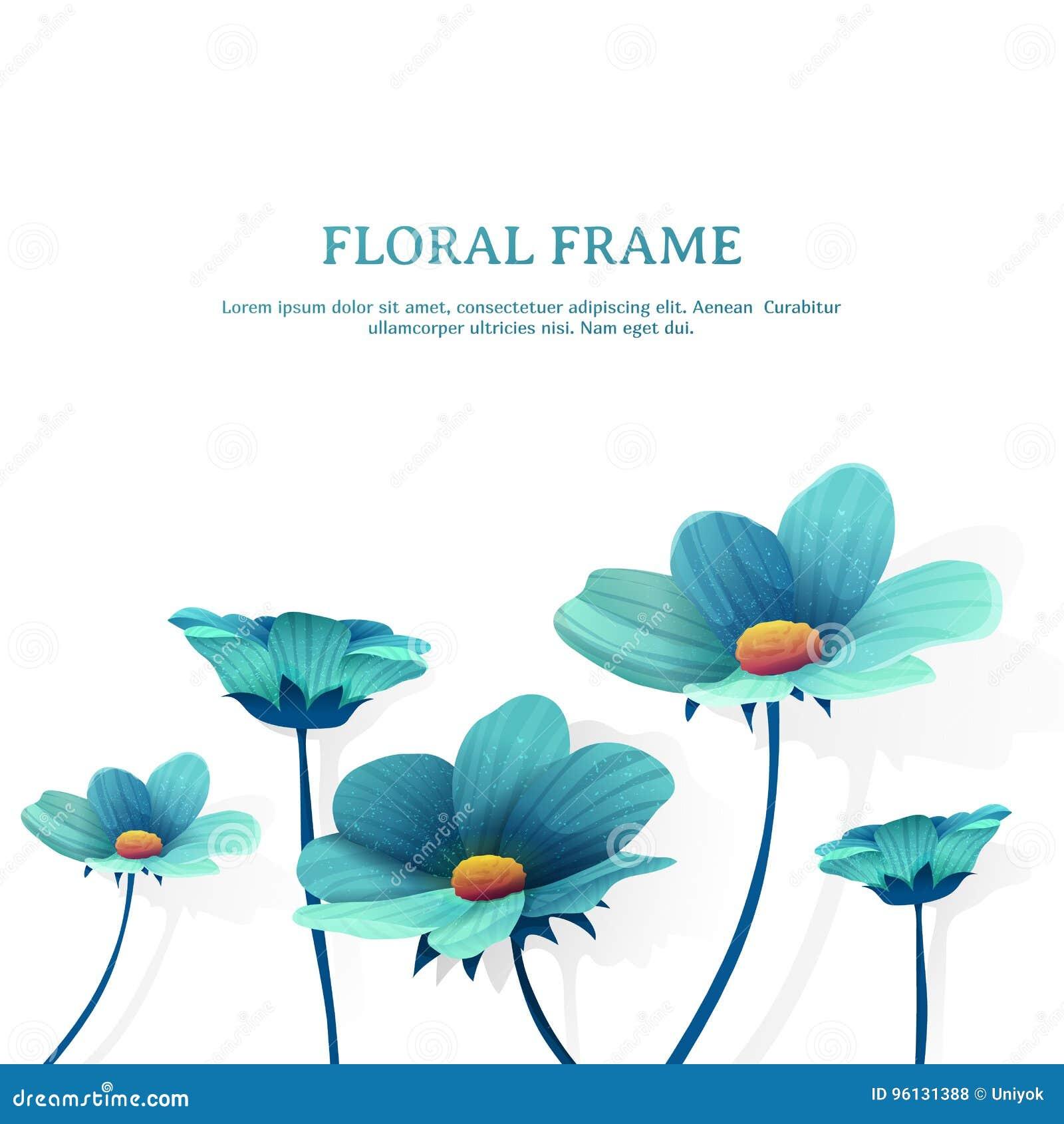 Szablonu projekta sztandar z kwiatu wystrojem Miejsce dla ty tekst Lato kwiatu błękitna rama wektor
