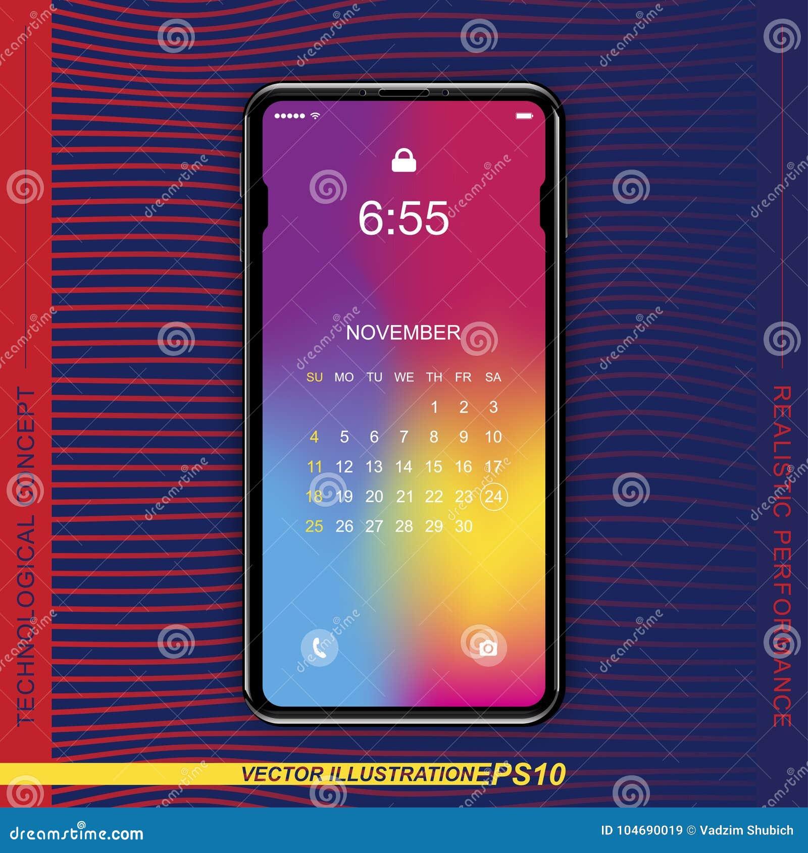 Szablonu realistyczny czarny smartphone z parawanowym kędziorkiem na colour tle Dzwoni z setem sieci ikony i porządkuje Płaski Ve